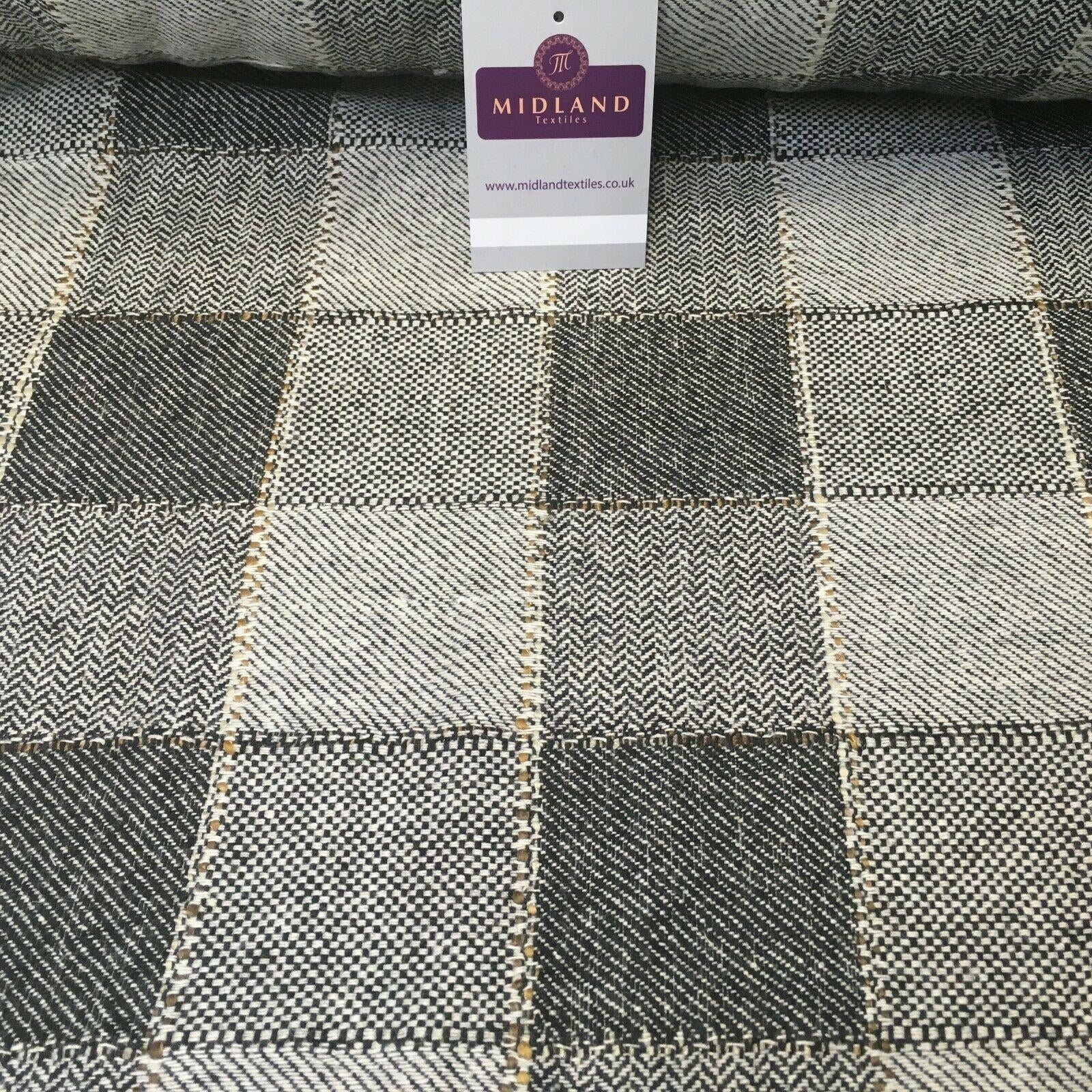 Cream & Black Check wool blend Melton Coating Poly Boucle Fabric 147 cm MK1194-6