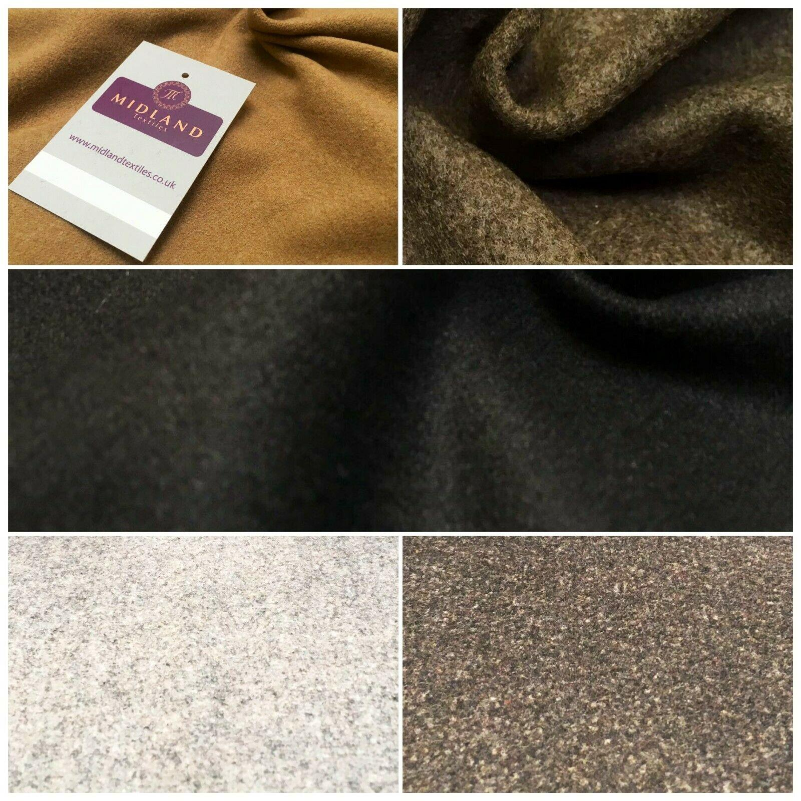 Plain Textured Melton Coating Wool Blend Fabric 139 cm MK1016 Mtex