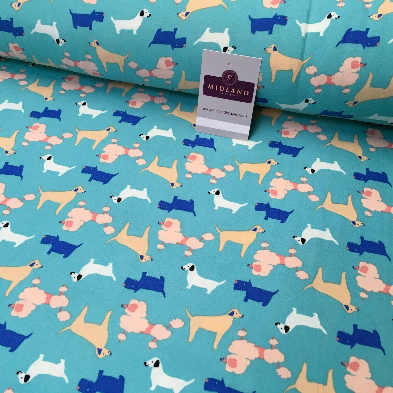 Aqua Assorted Dogs Printed Brushed Jersey Dress fabric 150cm Wide MK1106-6 Mtex