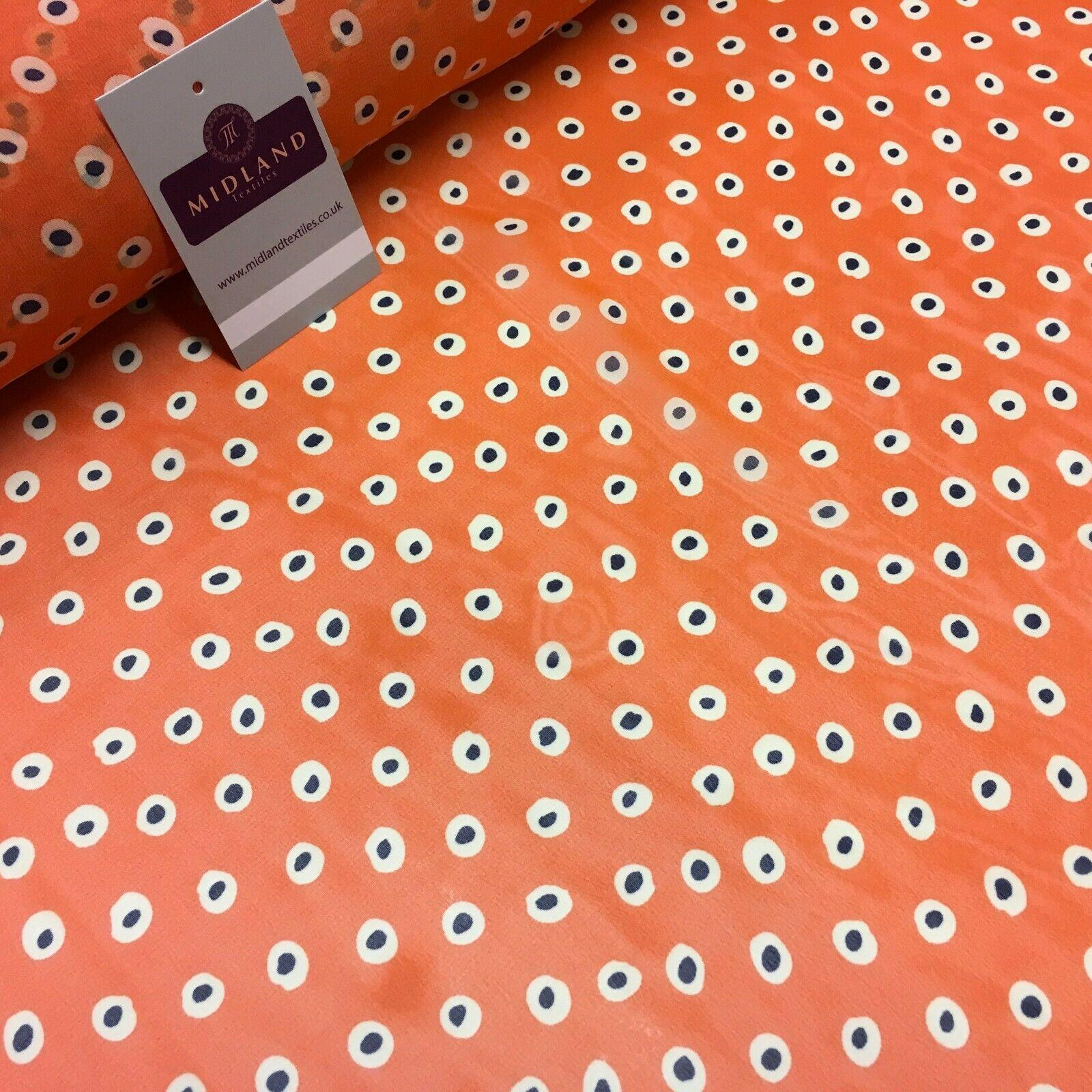 Orange Spotted printed Crepe chiffon Dress Fabric 150 cm Wide MK1190-4 Mtex