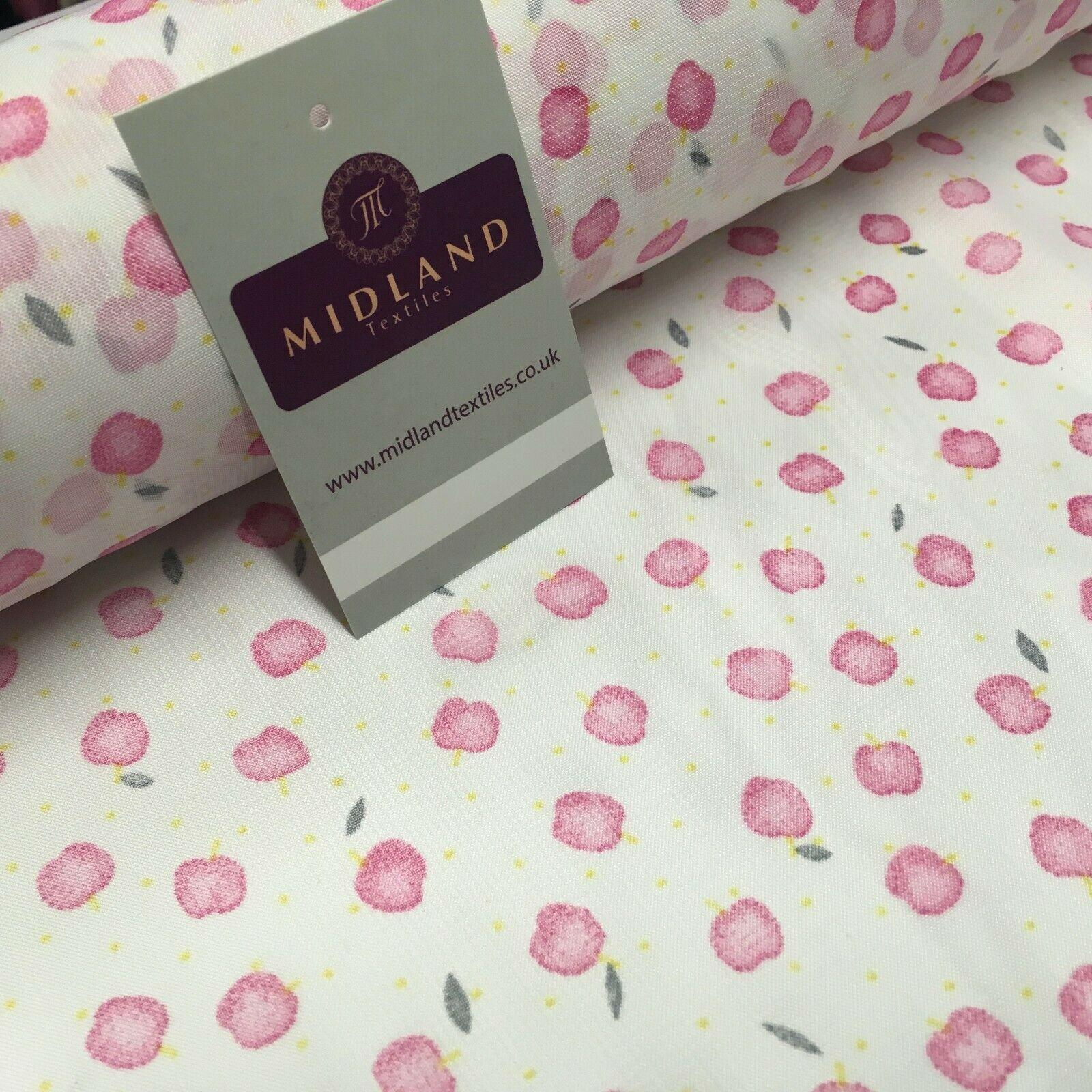 White & Pink apple printed Crepe chiffon Dress Fabric 150 cm Wide MK1190-1 Mtex