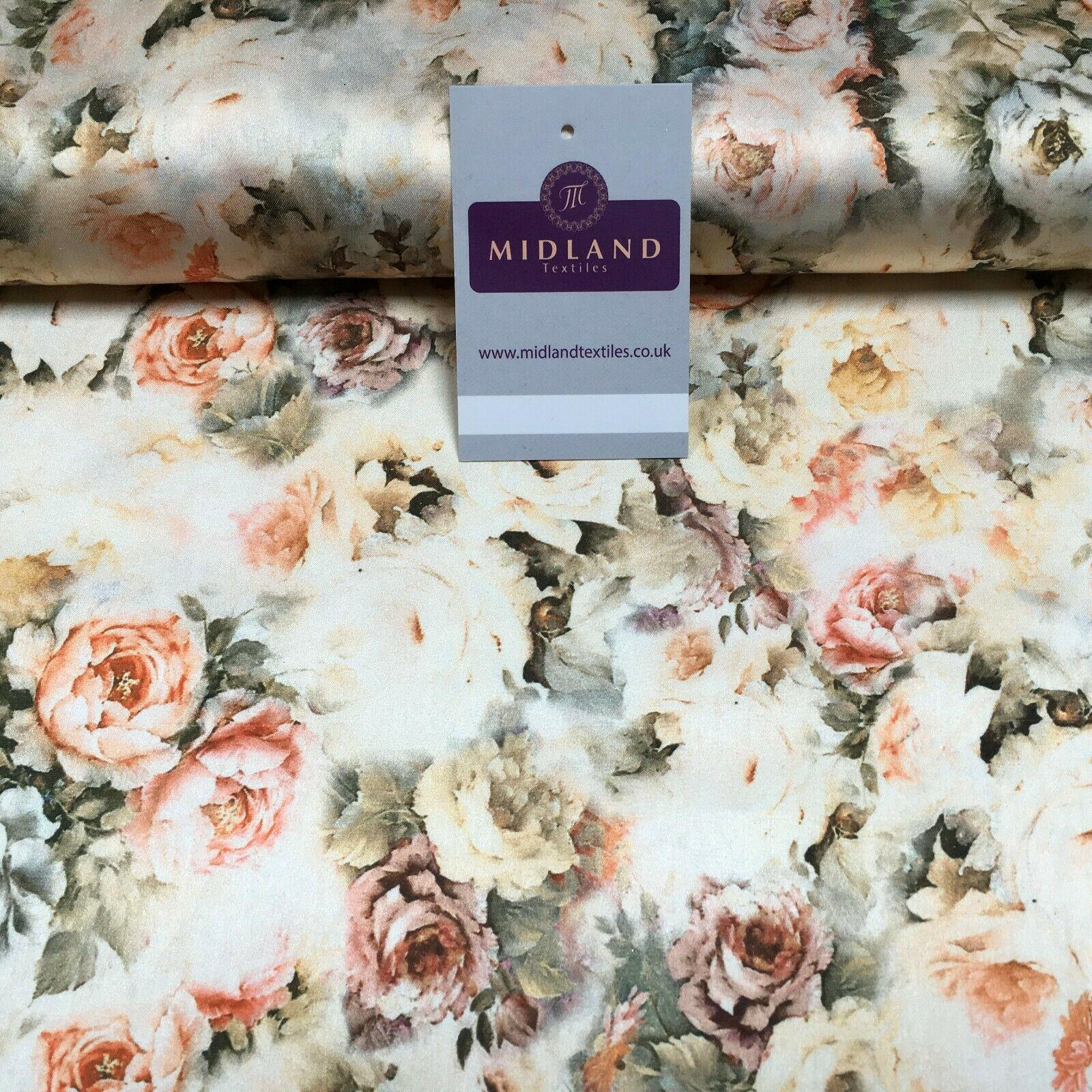 Floral Vintage Soft Digital Printed Satin Dress Fabric 110 cm Wide MA1142 Mtex