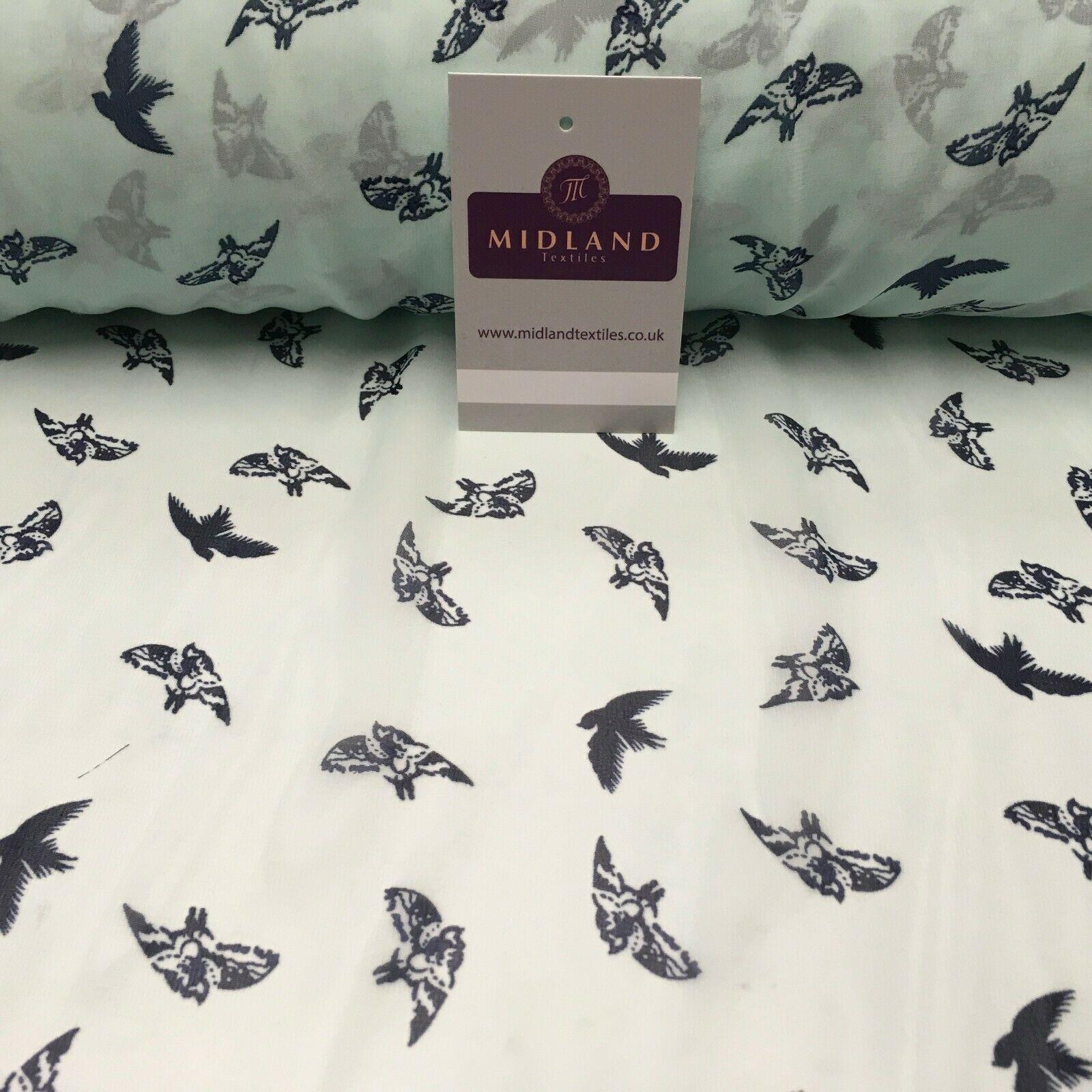Mint Bird silhouette Printed Crepe chiffon Dress Fabric 150 cm MK1190-20