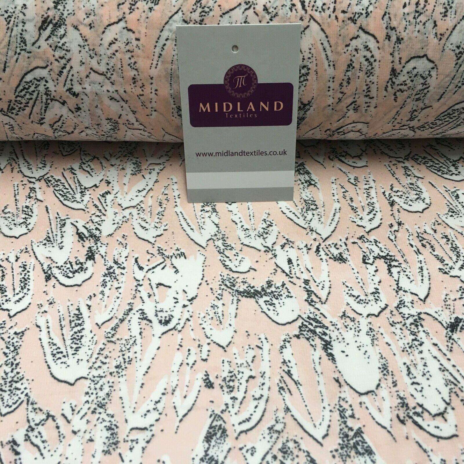 Pale Pink Printed Crepe chiffon Dress Fabric 150 cm MK1190-27