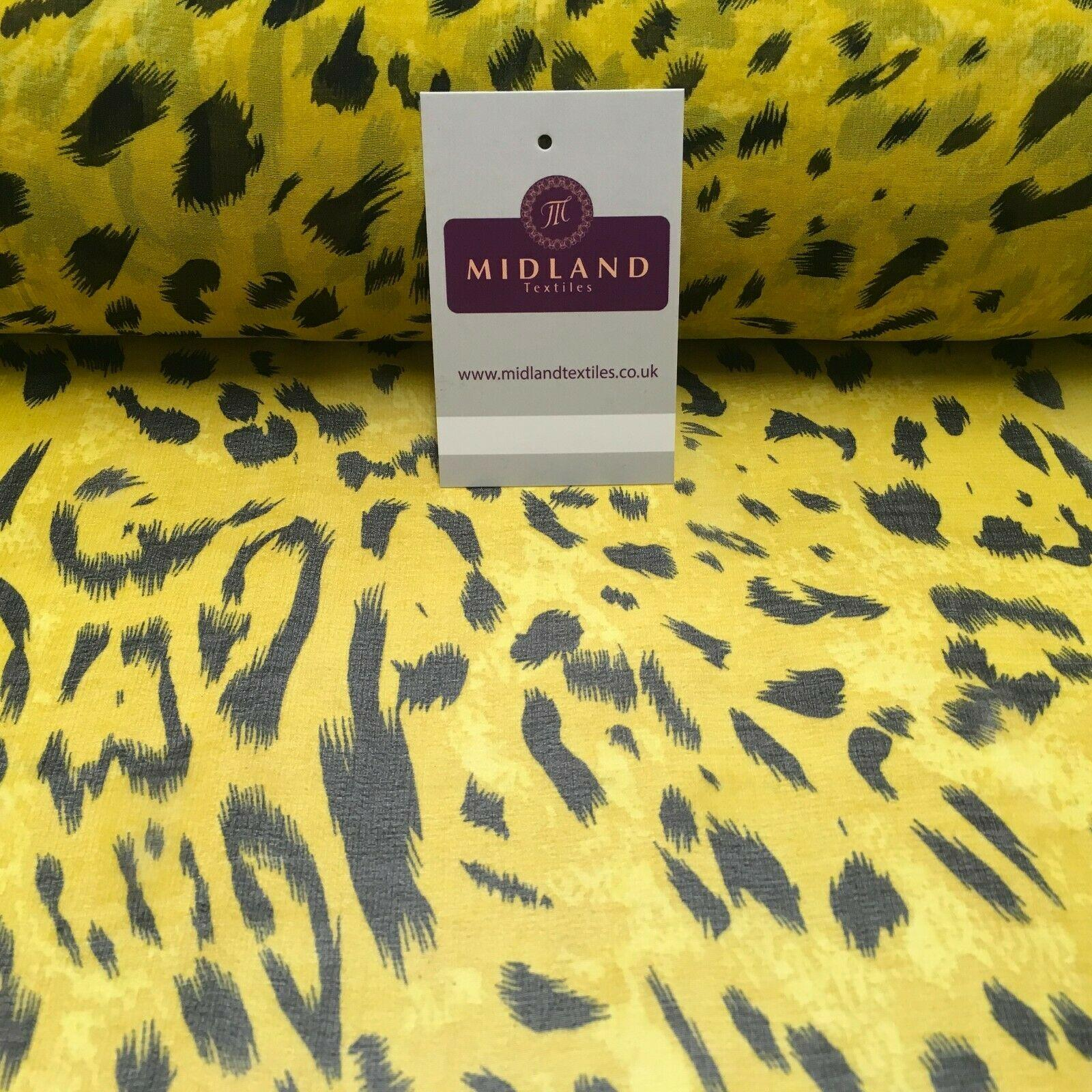 Tiger Gold Animal Printed Crepe chiffon Dress Fabric 150 cm MK1190-29 Mtex
