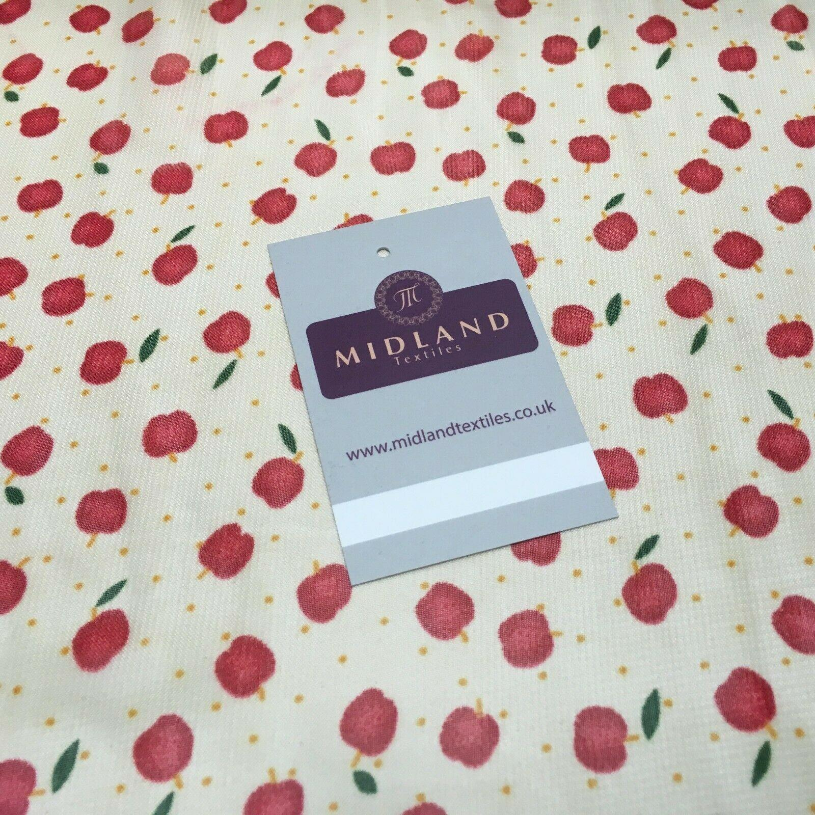 Cream and Red Apple Printed Crepe chiffon Dress Fabric 150 cm MK1190-34