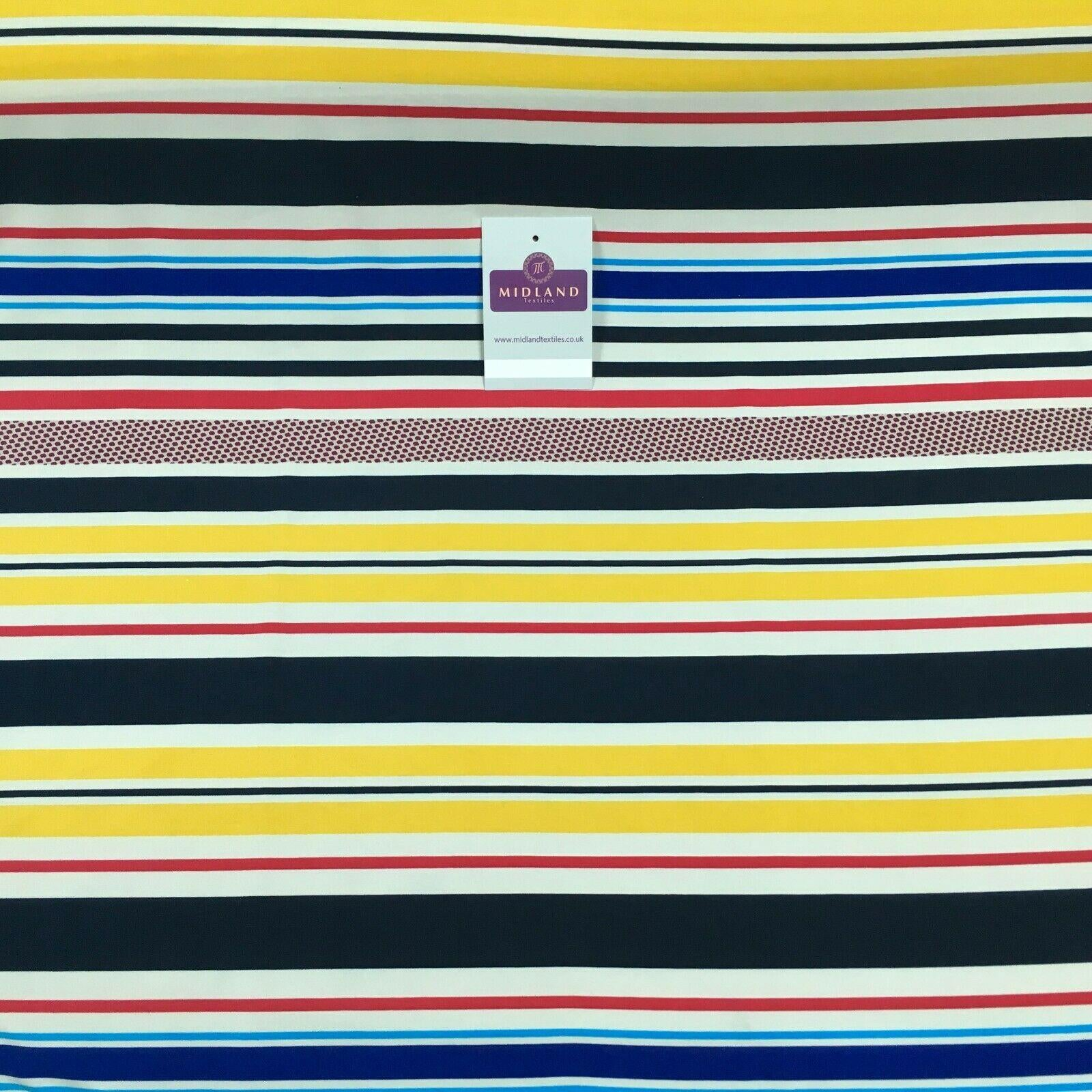 Yellow blue striped Ity Spandex jersey Dress Fabric 147 cm M1200-3 Mtex