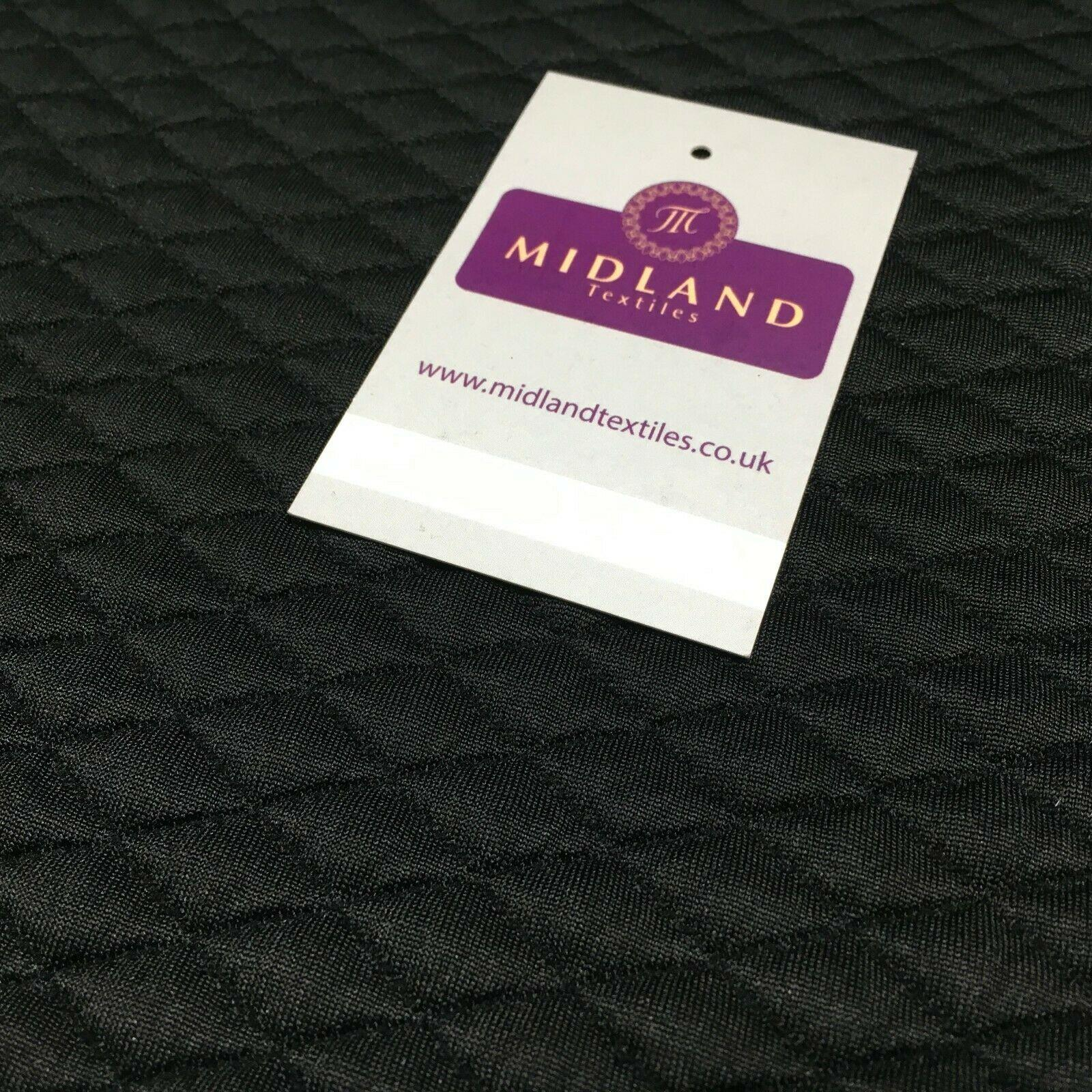 Black Quilted Diamond shaped Jersey dress fabric 147 cm M720-67 Mtex