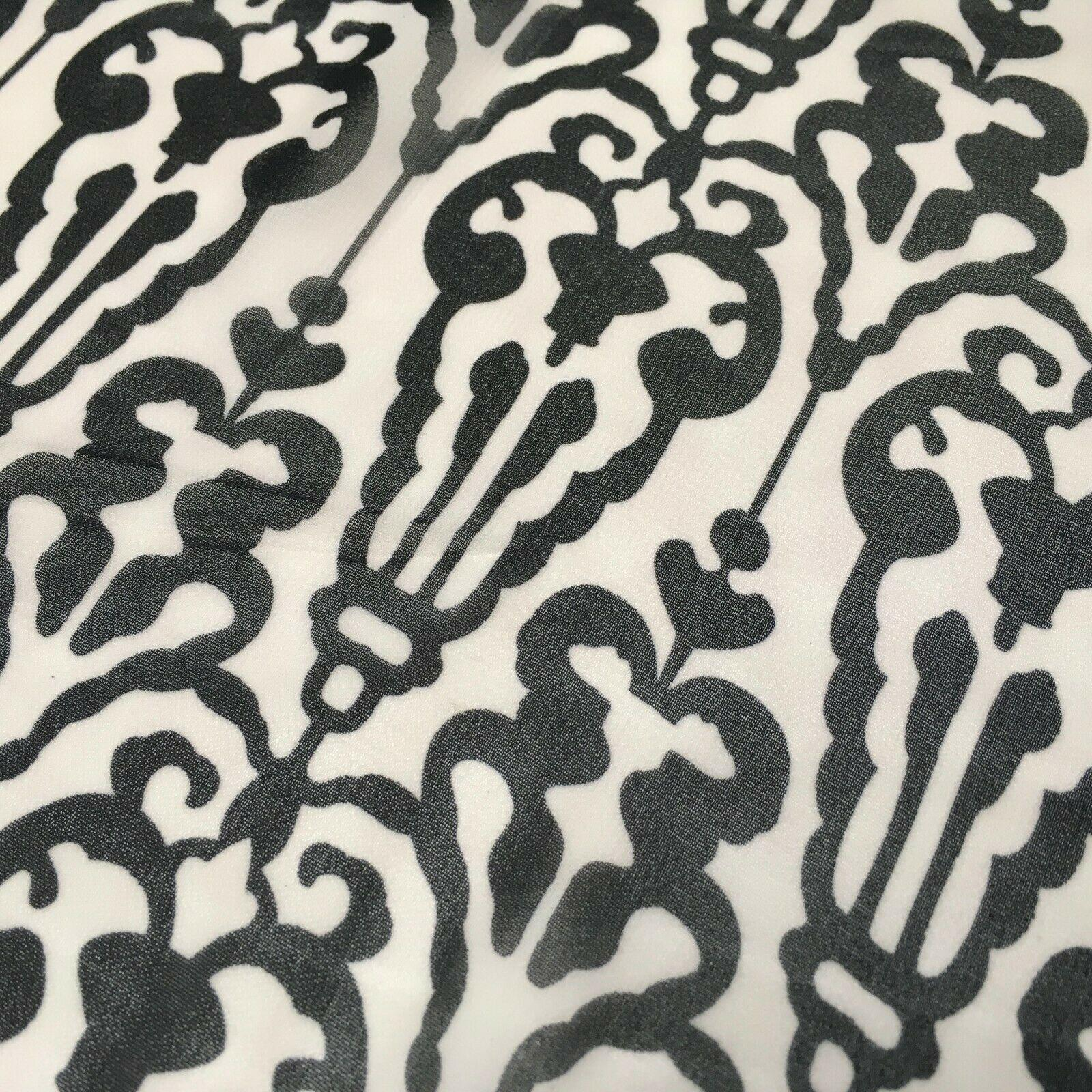 Black and White Ornamental Printed Crepe chiffon Dress Fabric 150 cm MK1190-32