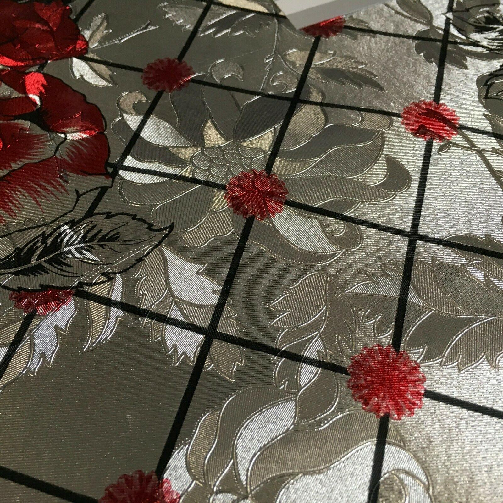 Metallic Silver Floral border Wipe clean table cover Fabric 139 cm M1204 Mtex