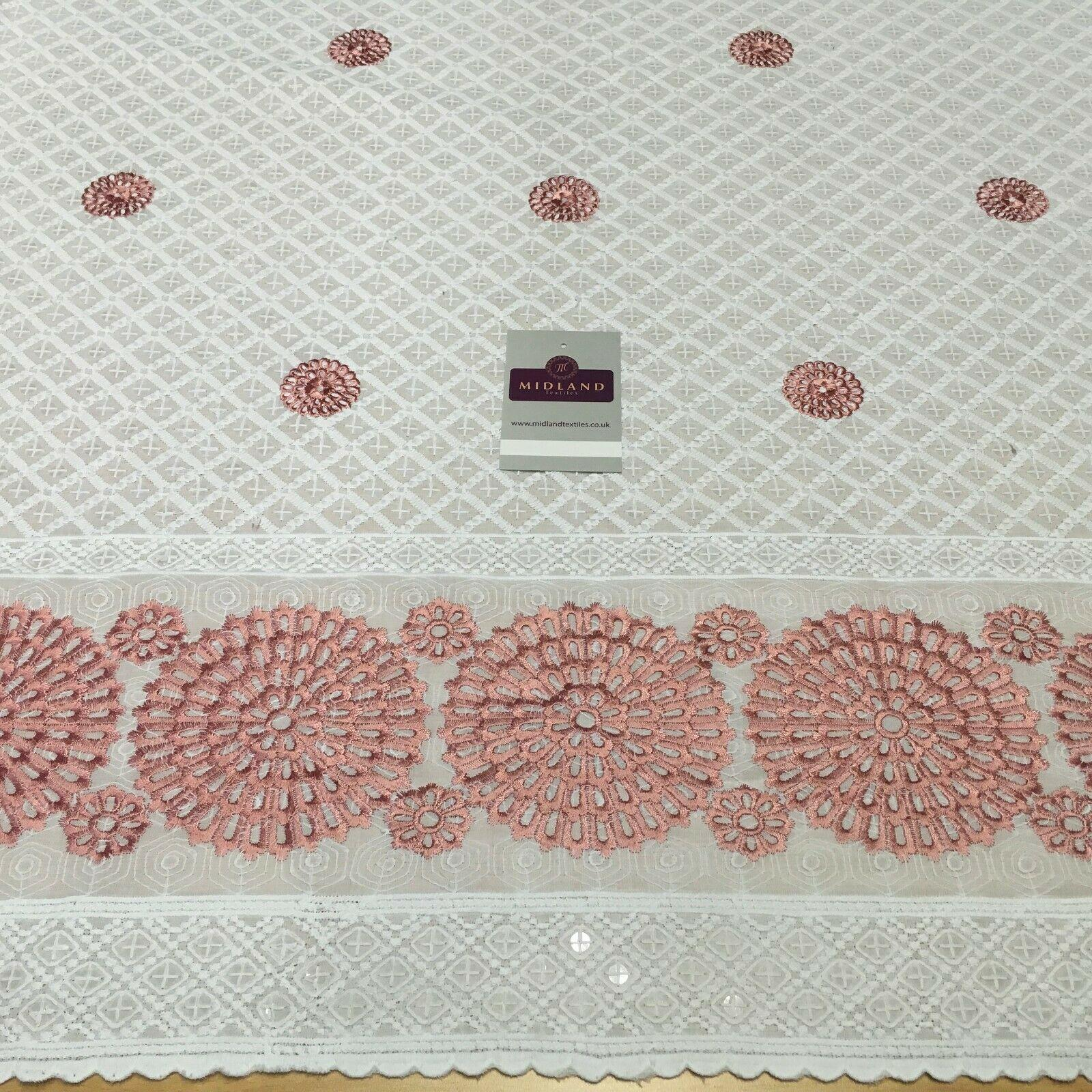 Cotton broderie anglaise Border Cotton blend fabric 139cm M1196 Mtex