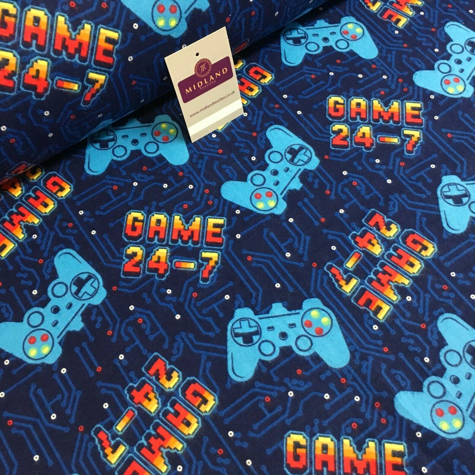 Navy Blue Retro Game Console Cotton Winceyette Brushed Fabric 110cm Mk1229-4
