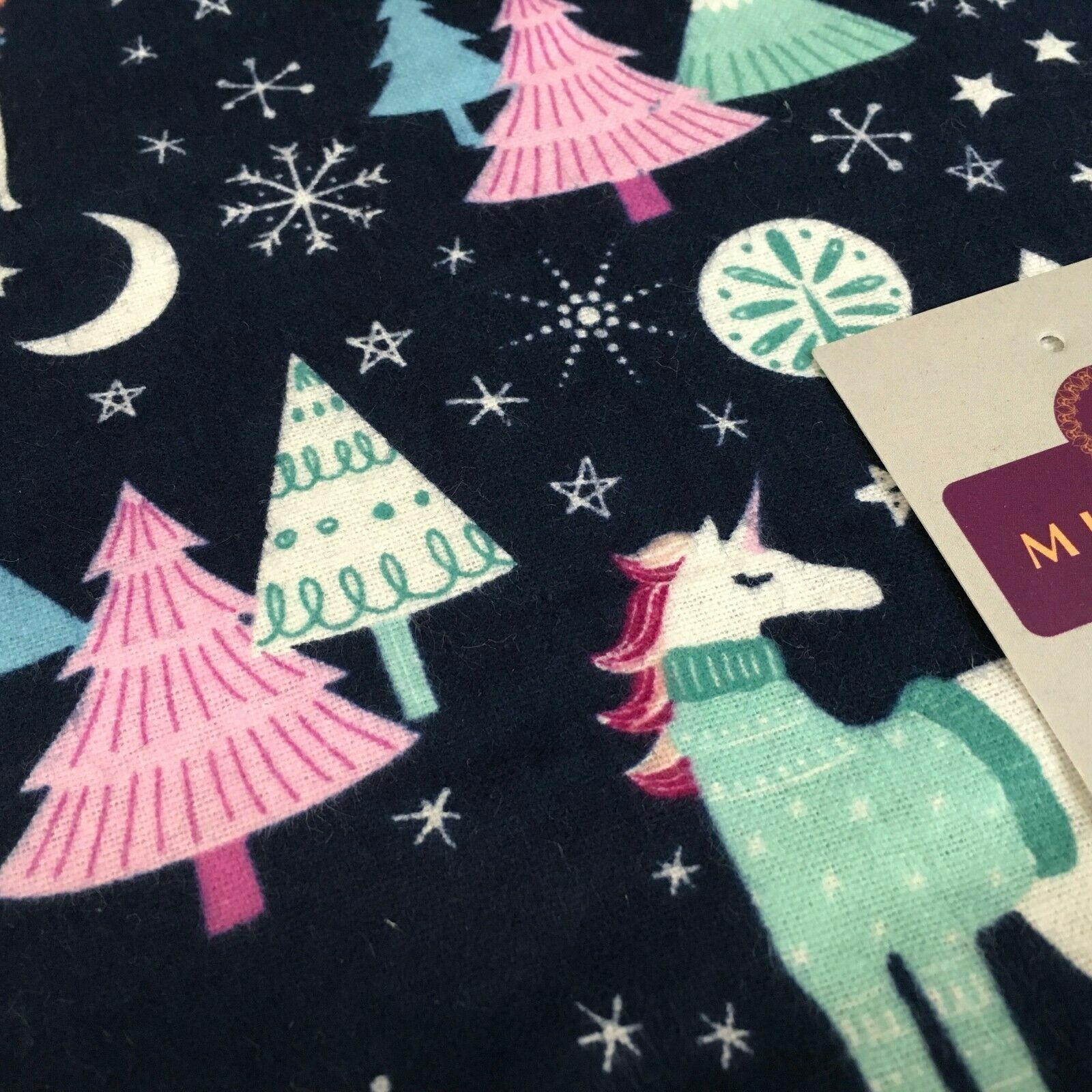 Navy Blue Unicorn Christmas Cotton Winceyette Soft Brushed Fabric 150cm MK1225