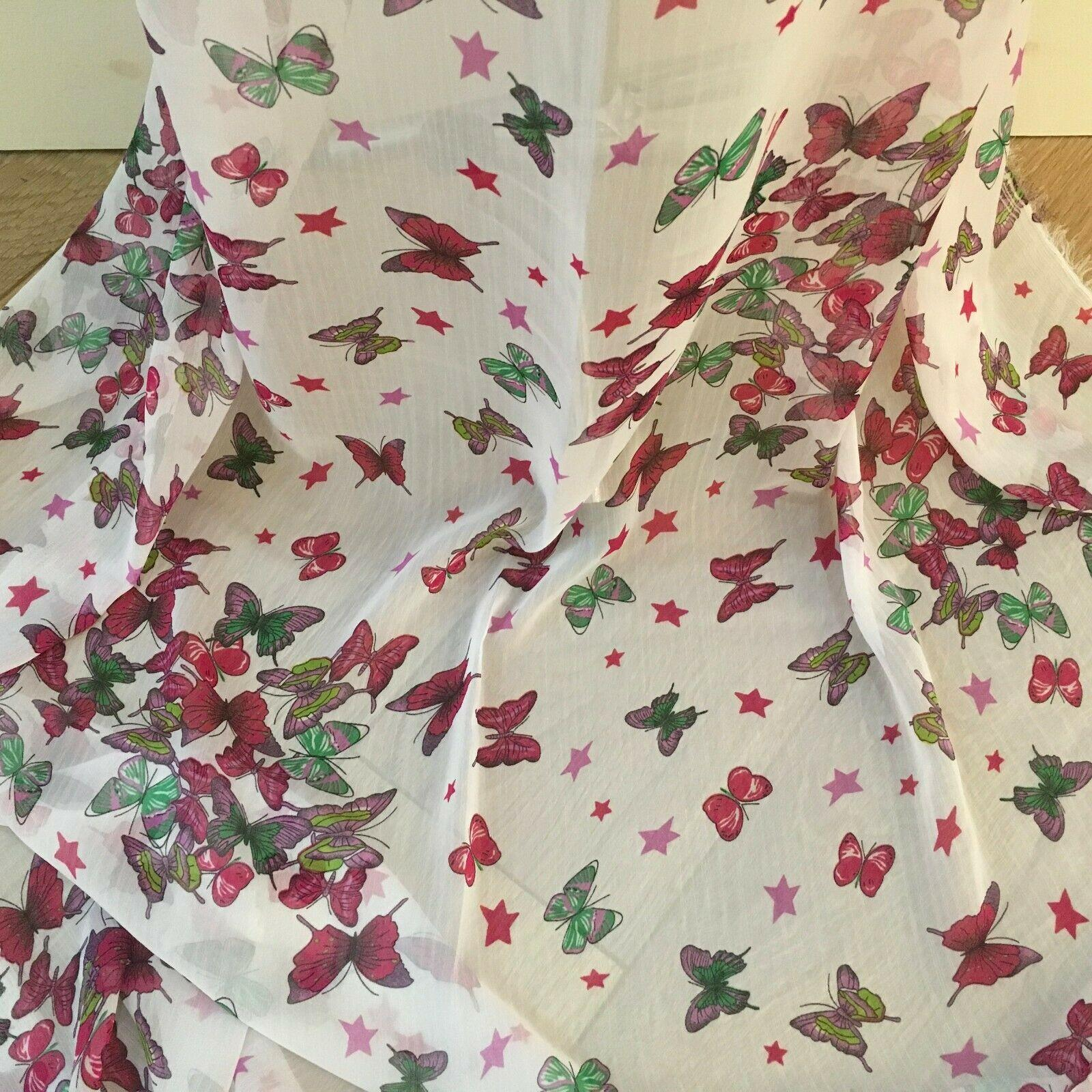 Pink Butterfly printed Crinkle Georgette Chiffon fabric 150cm wide MK1090-27
