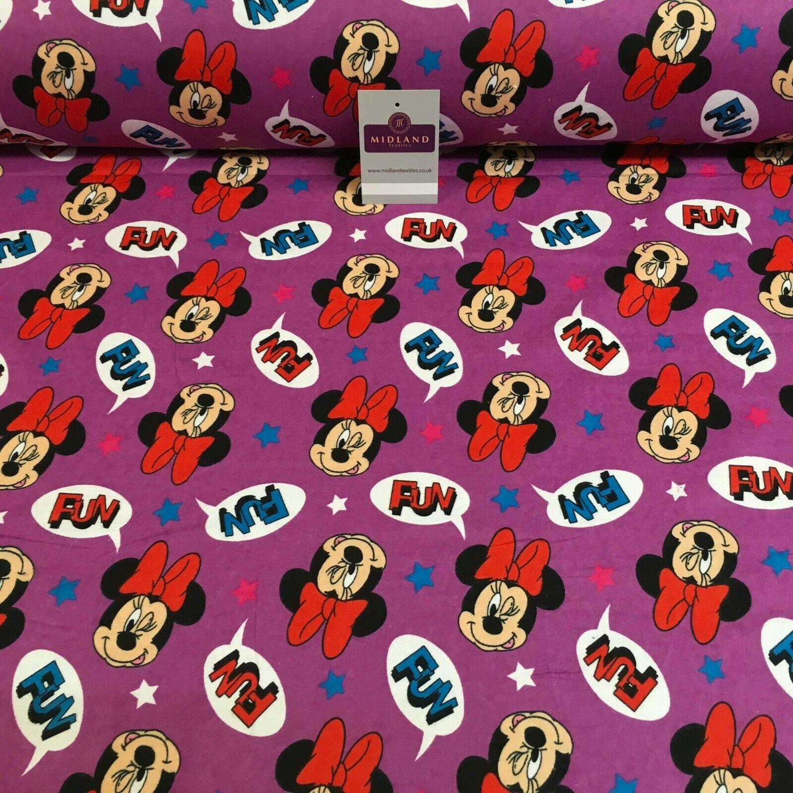 Purple Minnie Mouse Cotton Winceyette Brushed Flannel Fabric 110cm MK1229-10