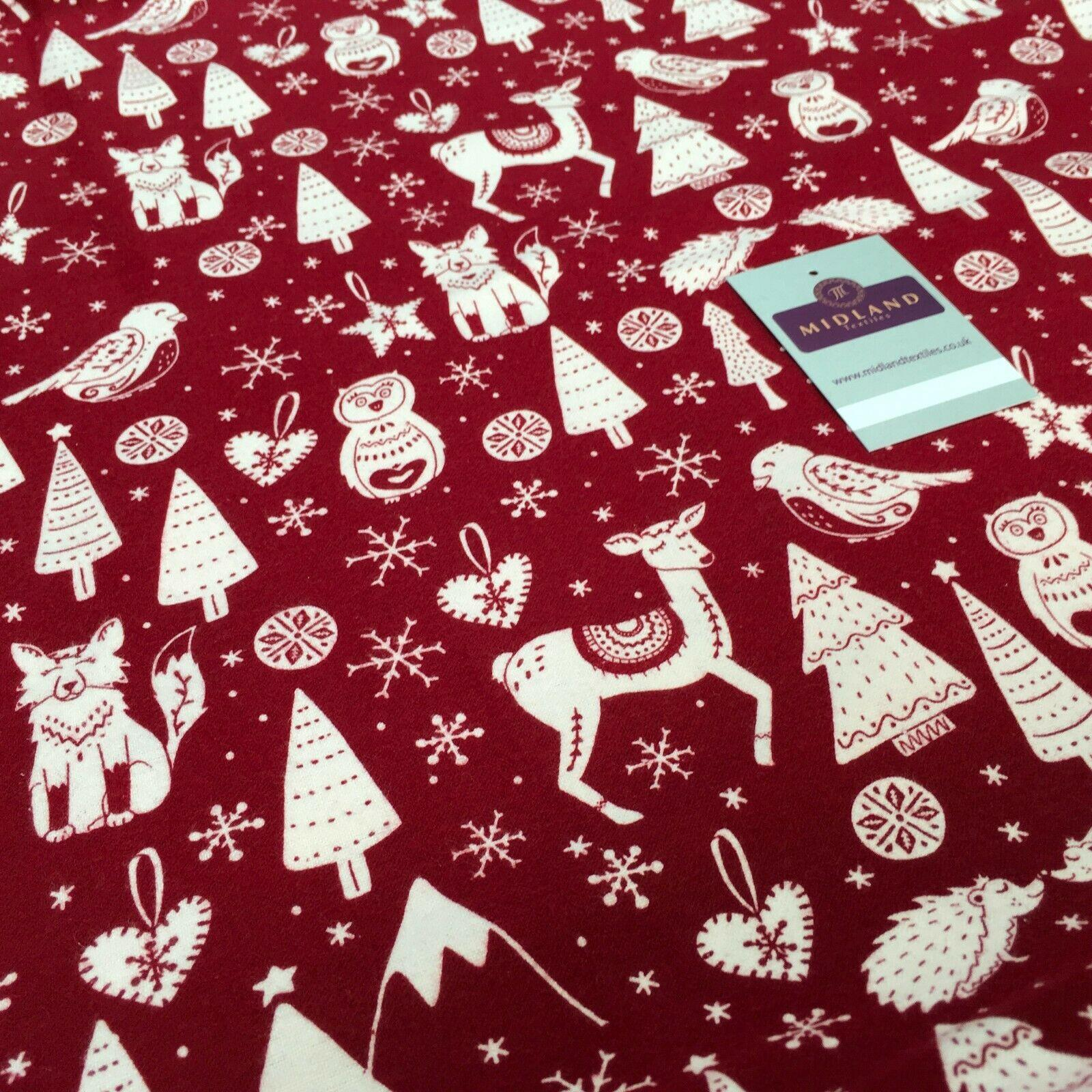 Red Christmas Cotton Winceyette Soft Brushed Flannel Fabric 150cm MK1224-2