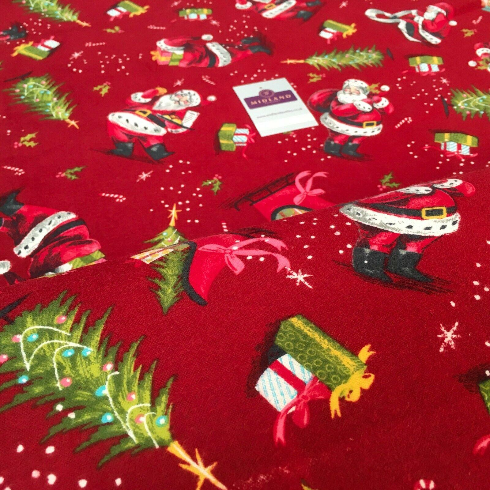 Red Father Christmas Sleigh Cotton Winceyette Soft Brushed Fabric 150cm MK1224-3