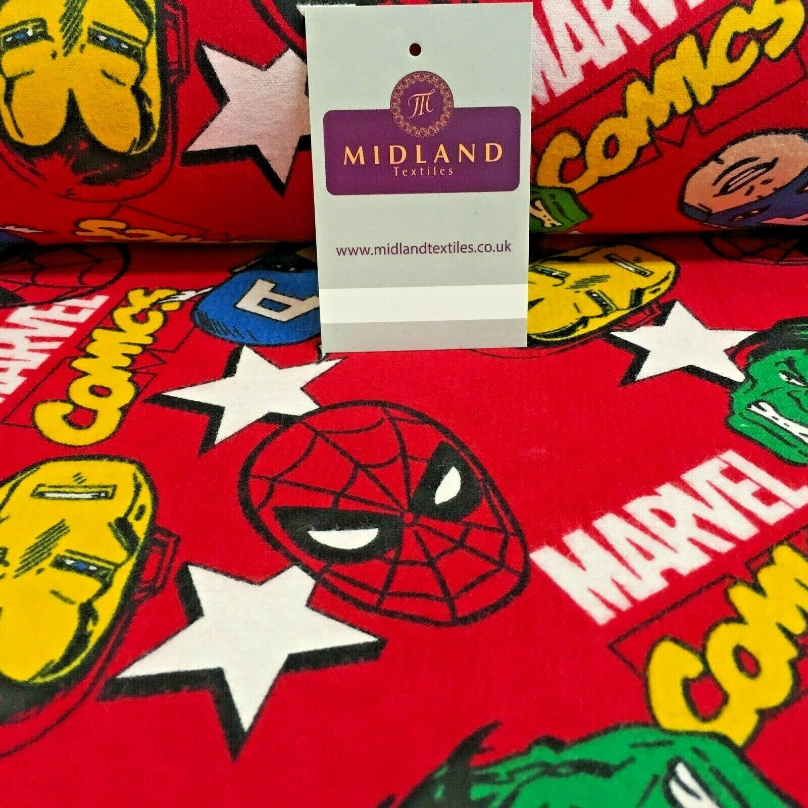 Red Marvel Comics Cotton Winceyette Soft Brushed Flannel Fabric 110cm MK1229-3