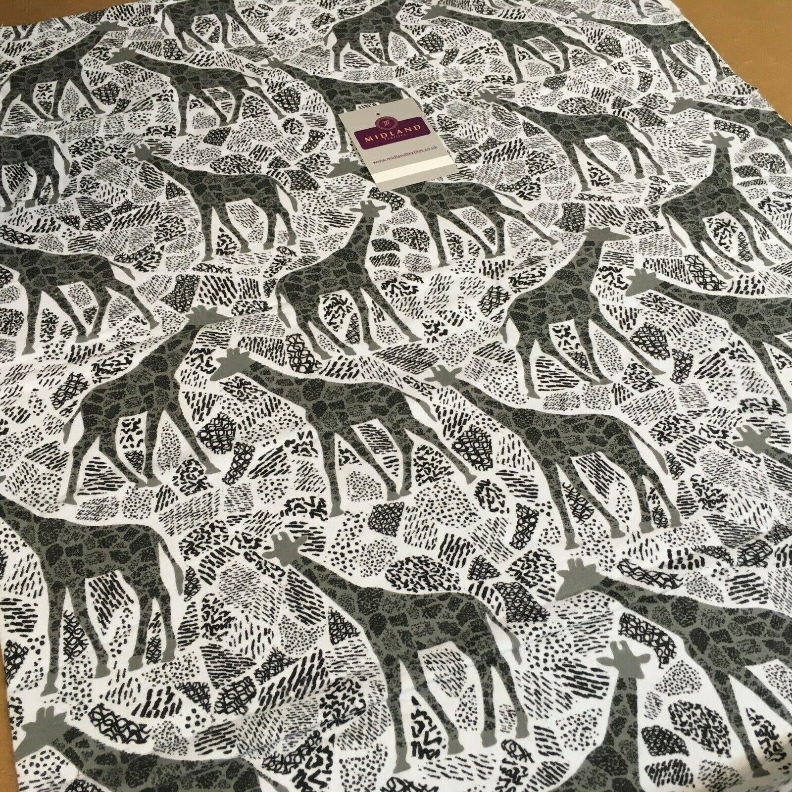 White Grey Giraffe Cotton Winceyette Soft Brushed Flannel Fabric 110cm MK1227-2