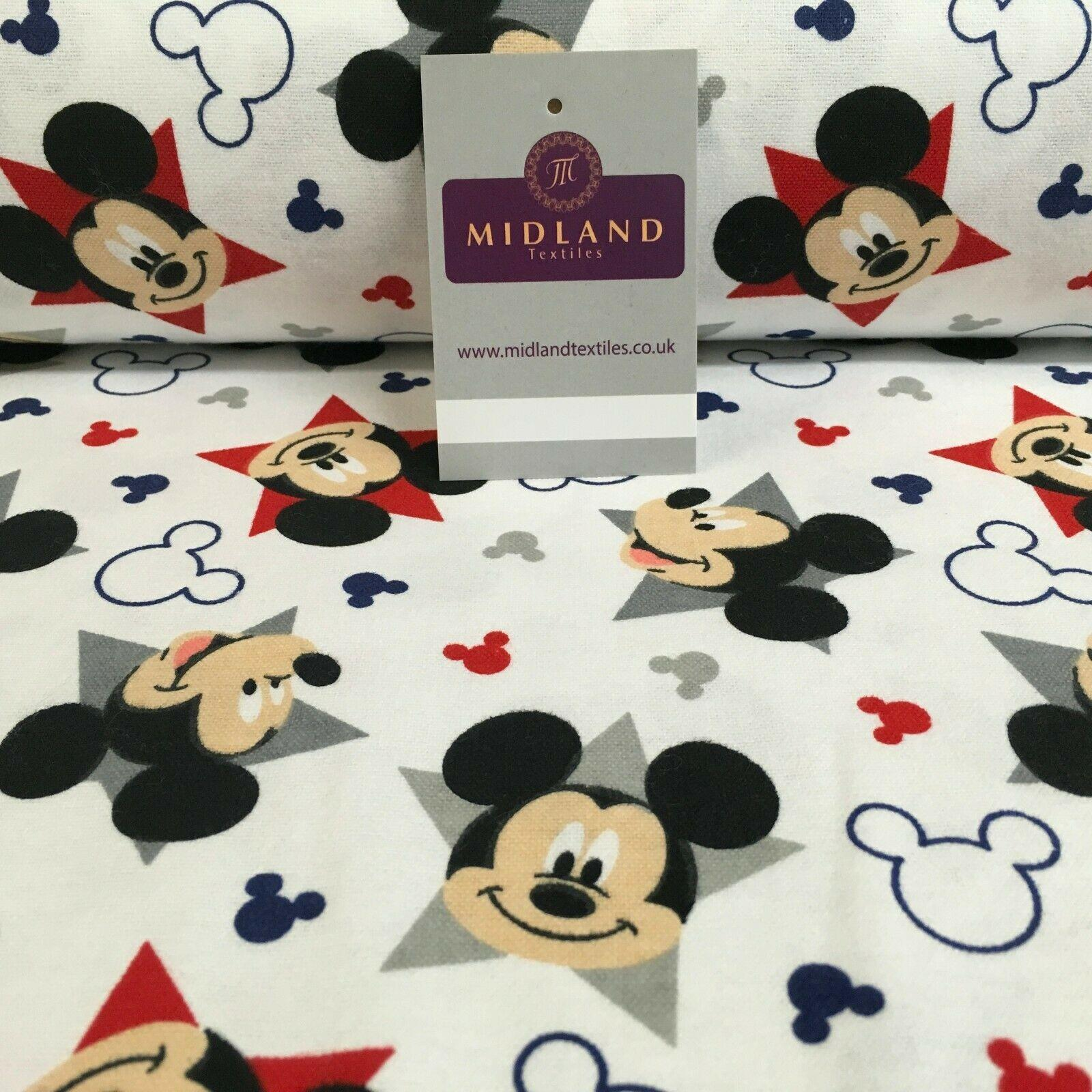 White Mickey Mouse Cotton Winceyette Soft Brushed Flannel Fabric 150cm MK1226-2