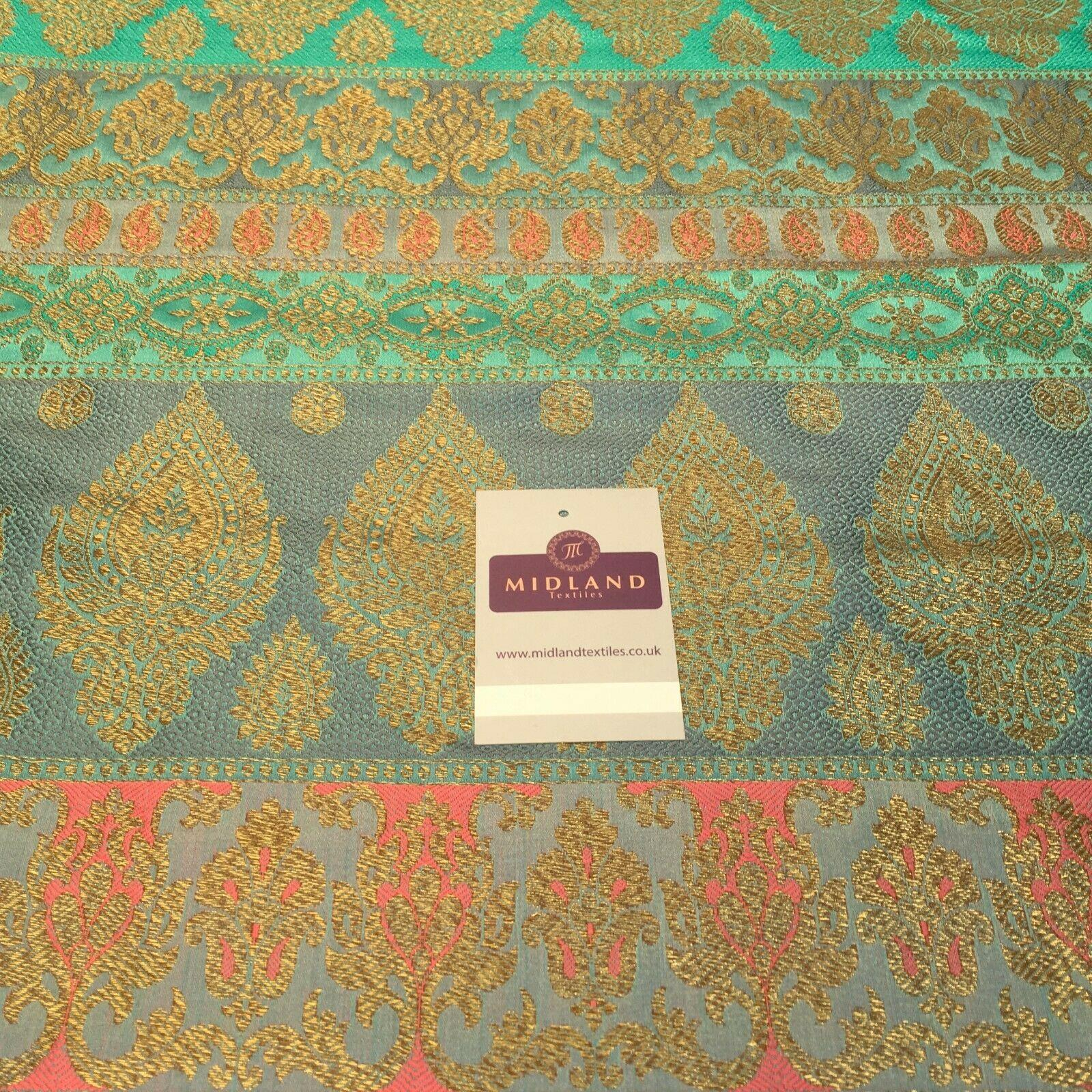 Indian Faux Silk Paisley Floral Border Banarsi brocade Fabric 110cm MP1240