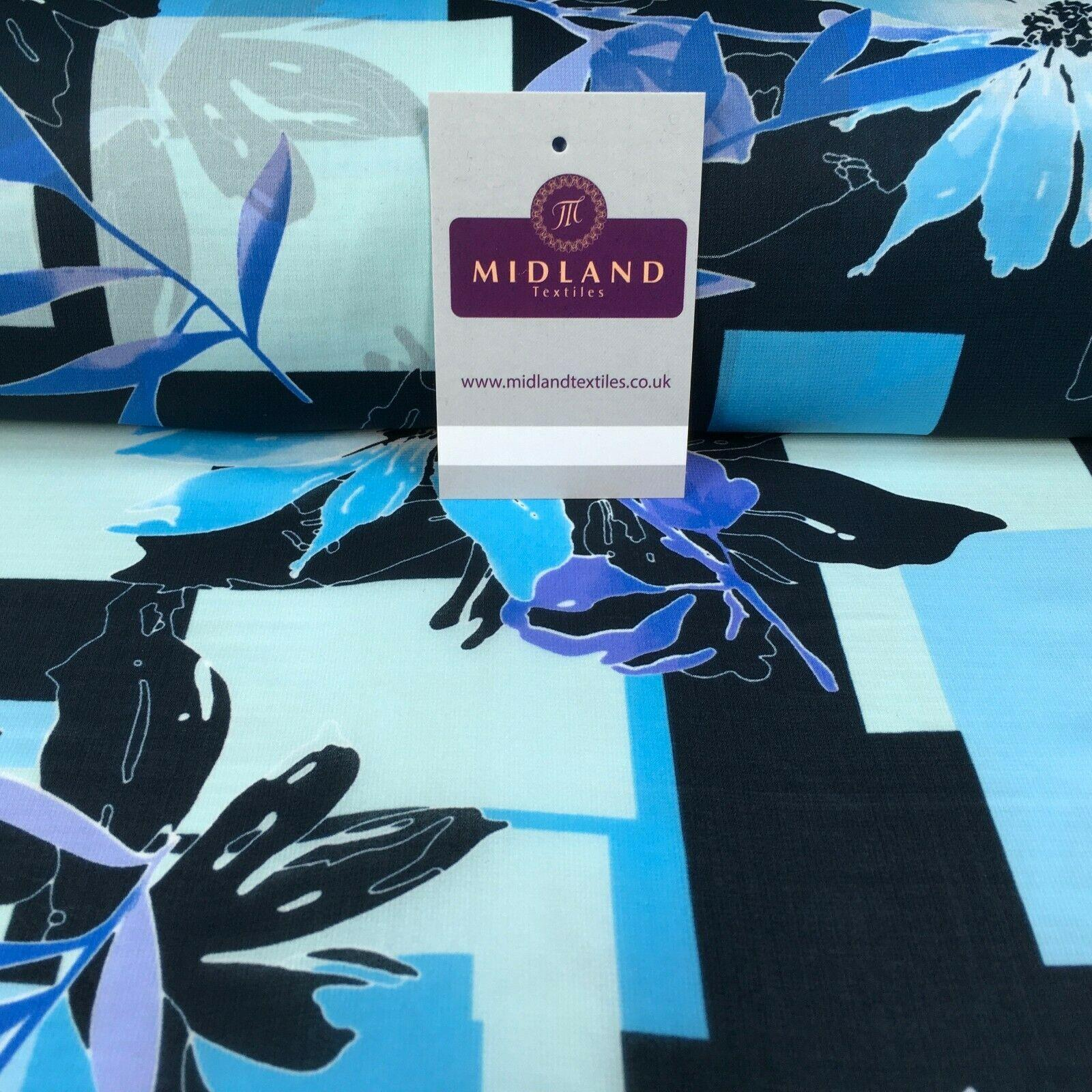 Blue's Floral Matt Satin Chiffon Dress Fabric 150 cm M145-79 Mtex