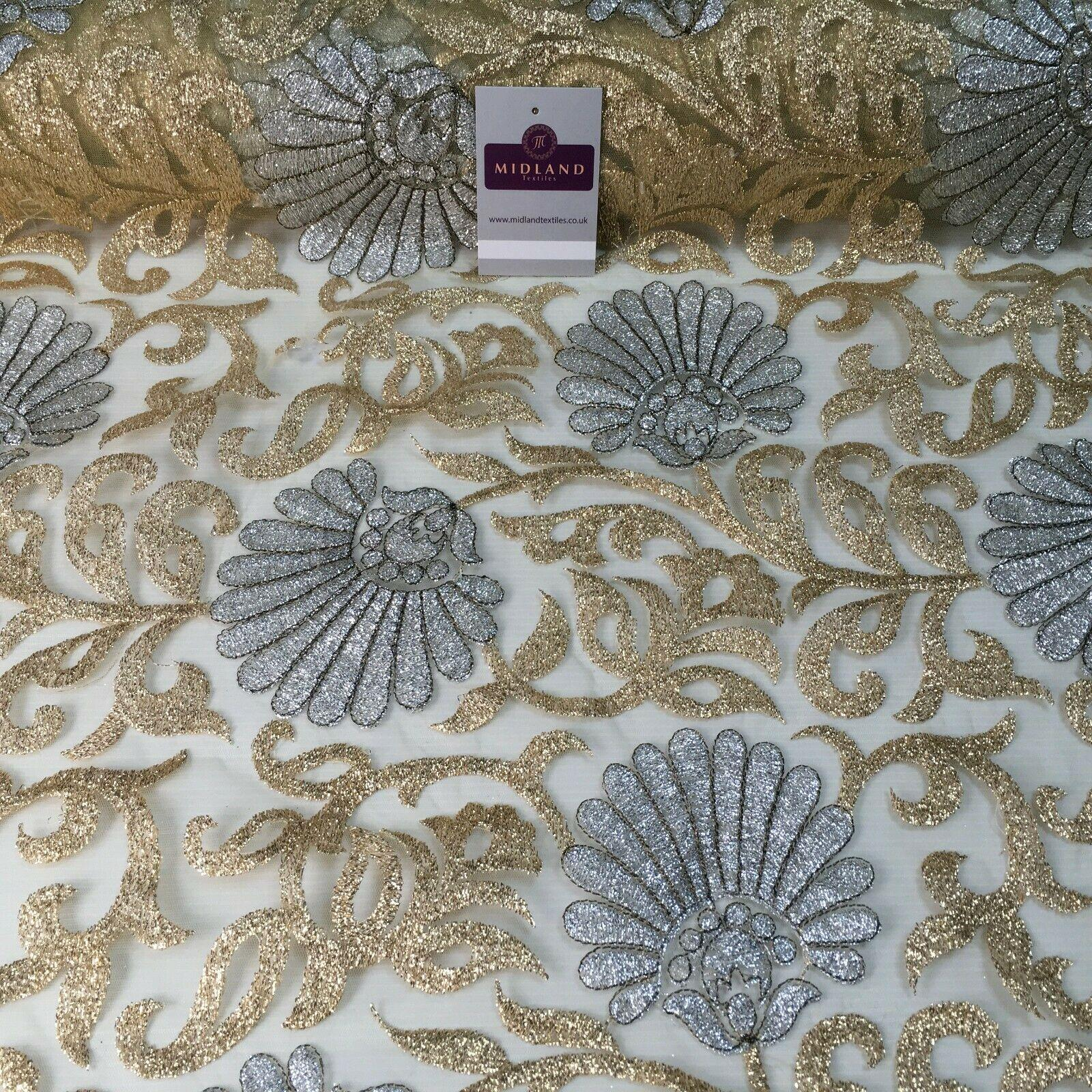 Gold net with silver Floral Ornamental Dress Fabric 100 cm M1209 Mtex
