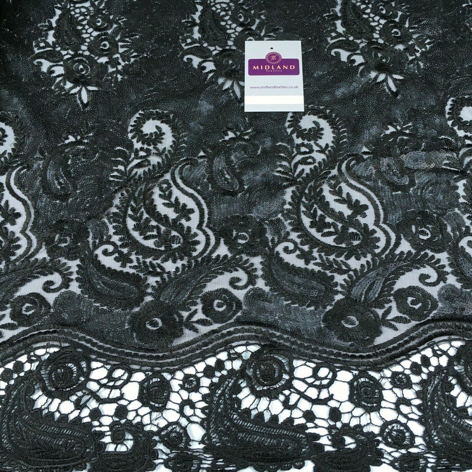 Paisley Matt Sequin with Guipure border net mesh dress fabric 150 cm M1209 Mtex