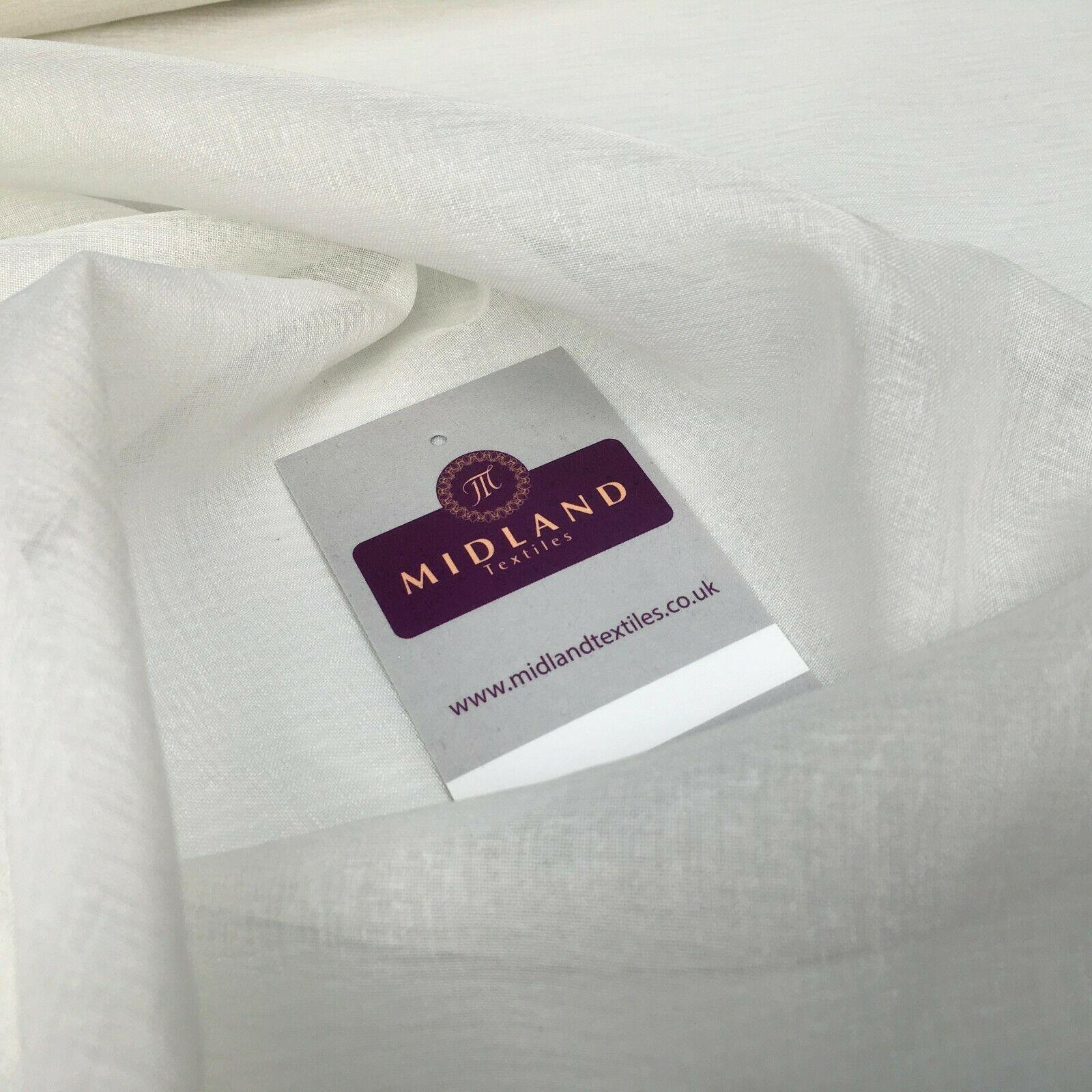 Plain Lightweight Ivory poly muslin voile Fabric 150 cm M145-81 Mtex