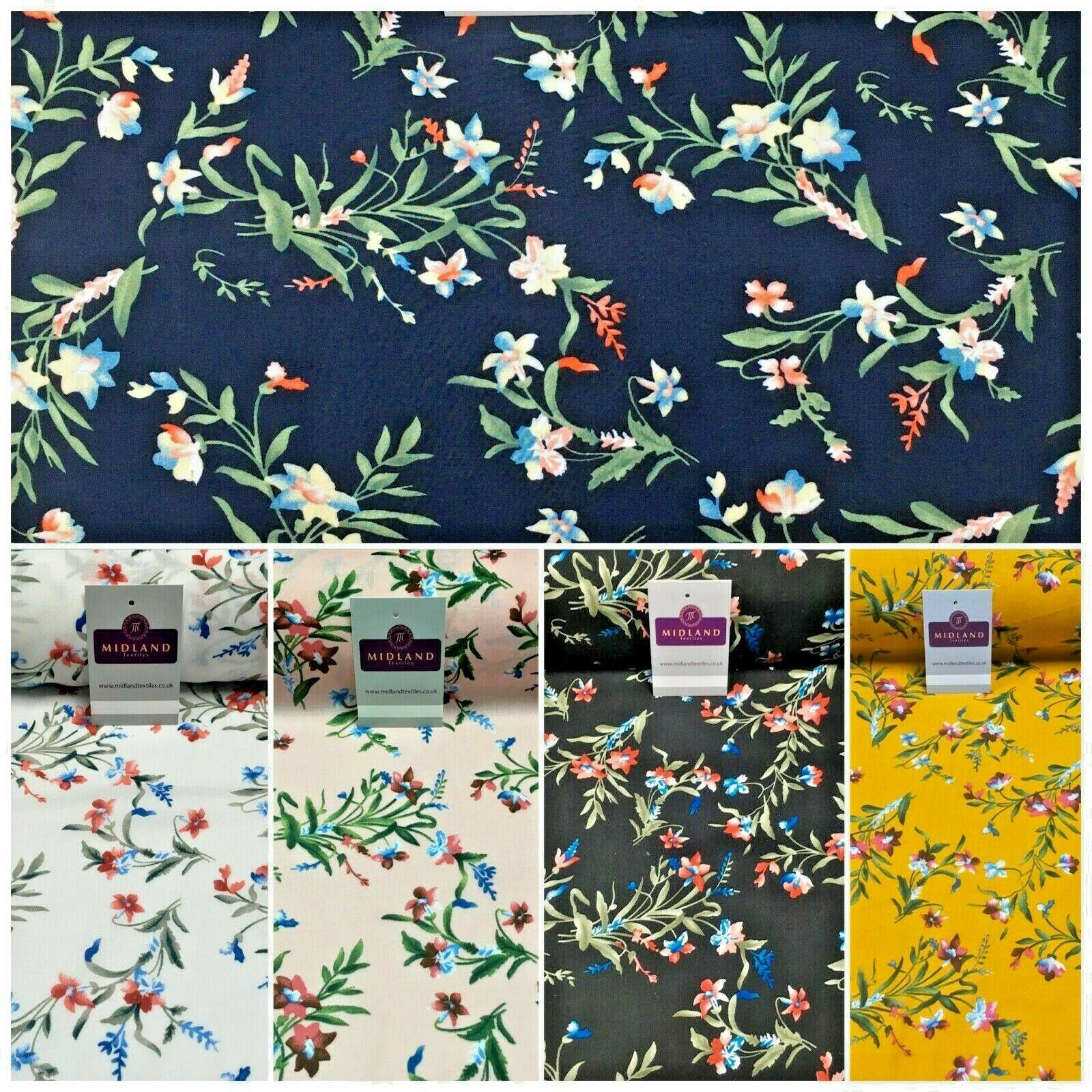 Floral Printed Rayon Viscose Poplin dress Fabric 150 cm MA1253 Mtex