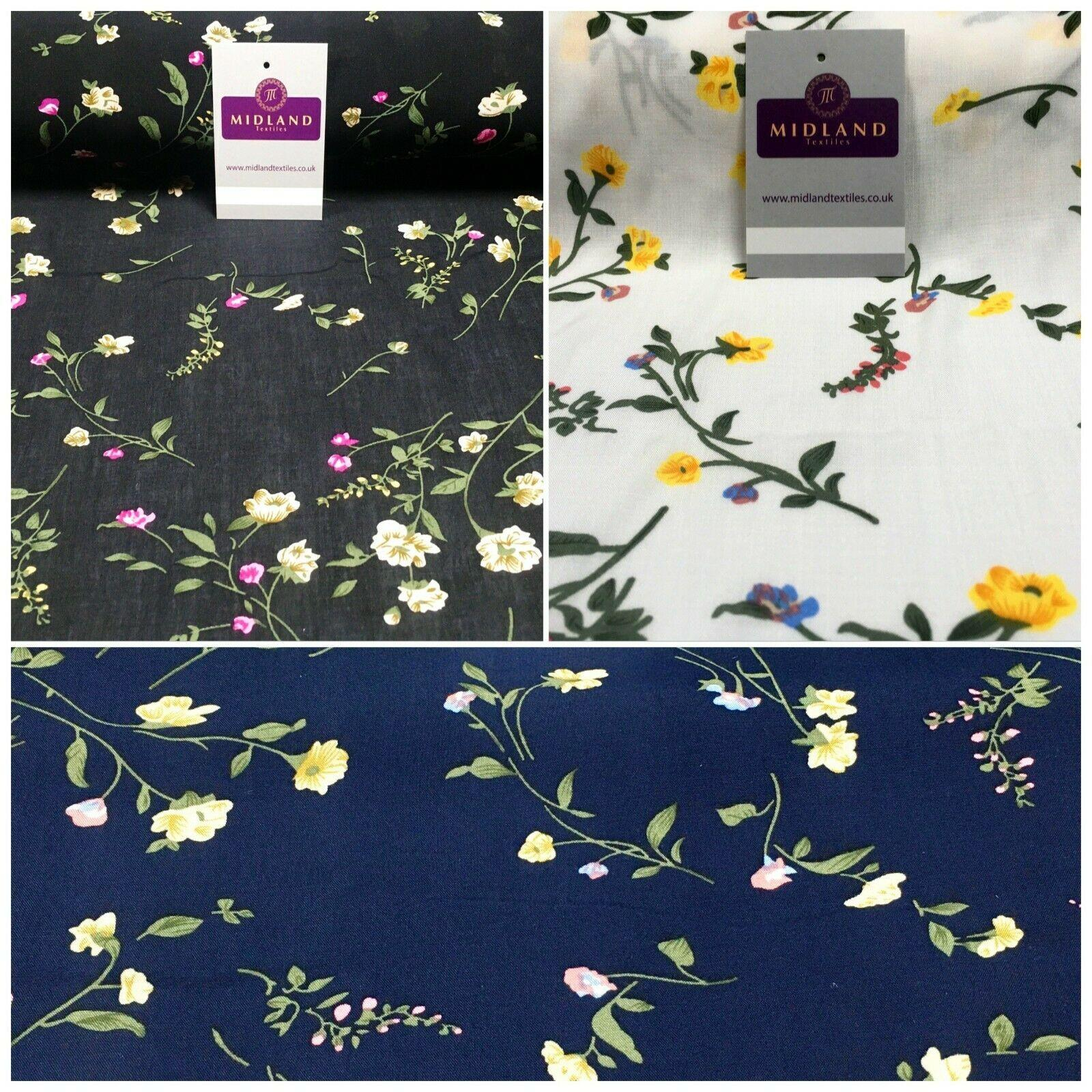 Floral Printed Rayon Viscose Poplin dress Fabric 150 cm MA1254 Mtex