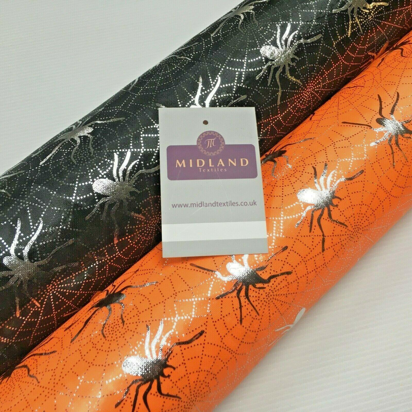 Halloween Spooky Spider web Silver Foil Fabric 150 cm MH1280 Mtex
