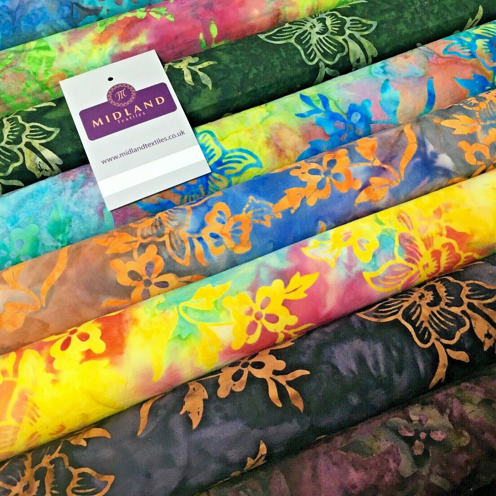Floral Bali Batik Stamp Dyed Craft Cotton Fabric  110 cm MK1277 Mtex