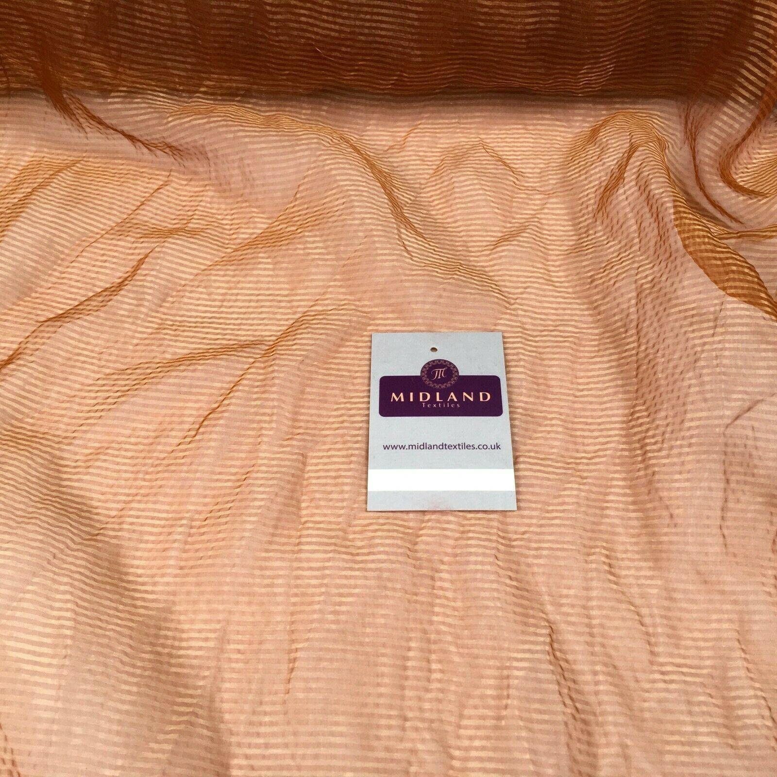Rust Crushed Lightweight Organdy pin stripped Fabric 150 cm M145-82 Mtex