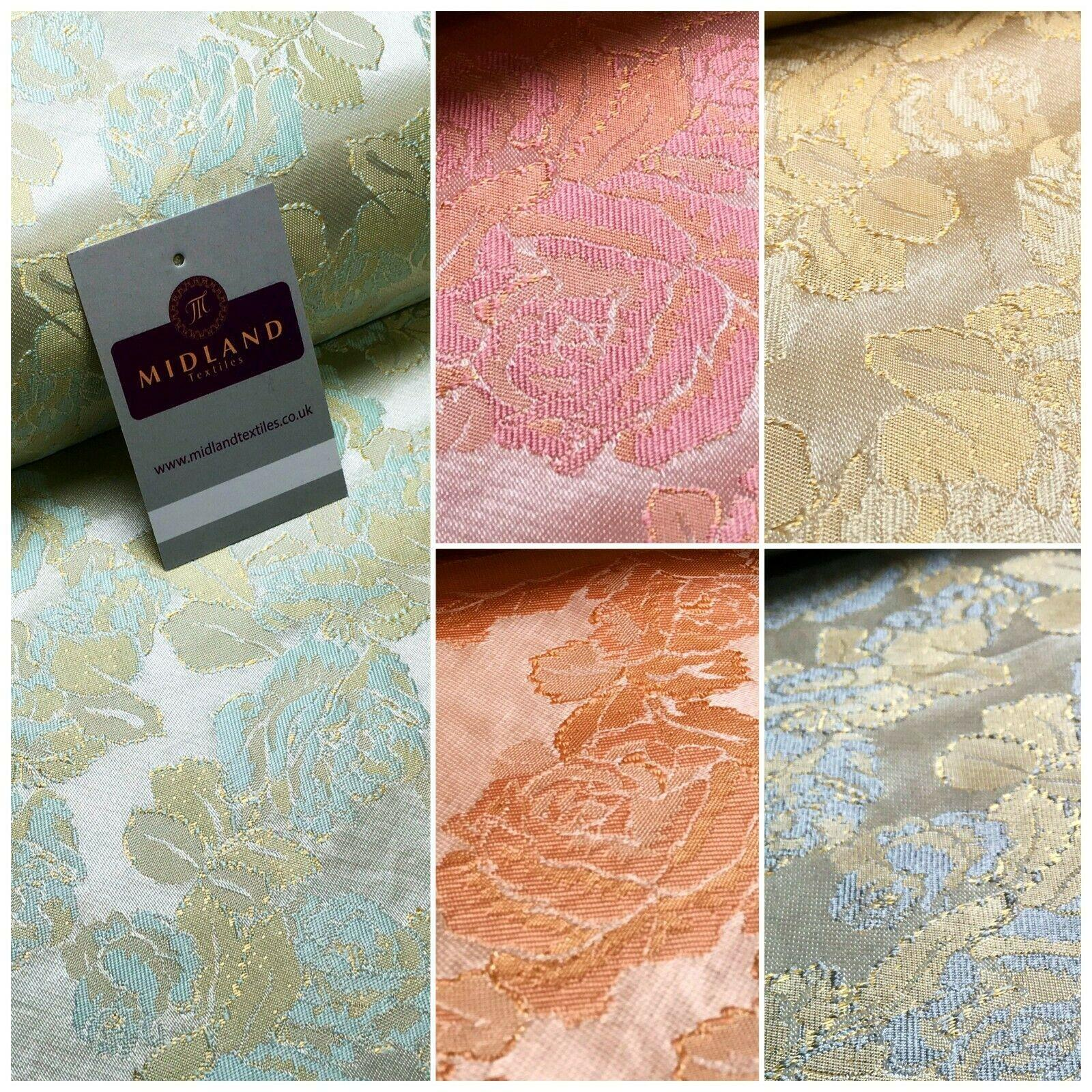 Floral Firm Pastel Jacquard Indian Faux Silk Banarsi brocade Fabric 150cm MA1239