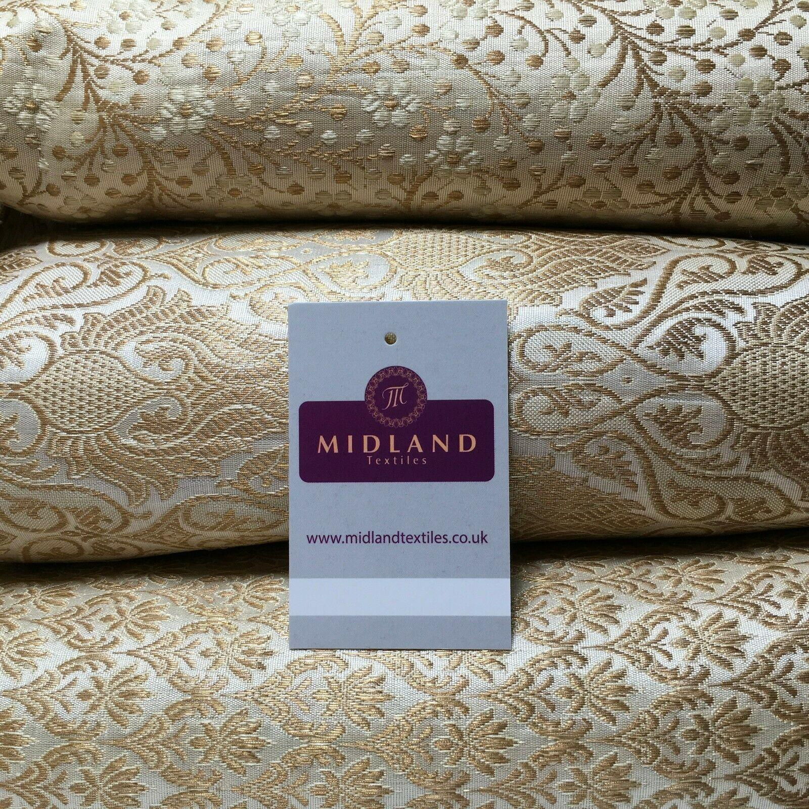 Cream Gold Indian Banarsi Brocade Faux Silk Waistcoat Fabric 110 cm M1274