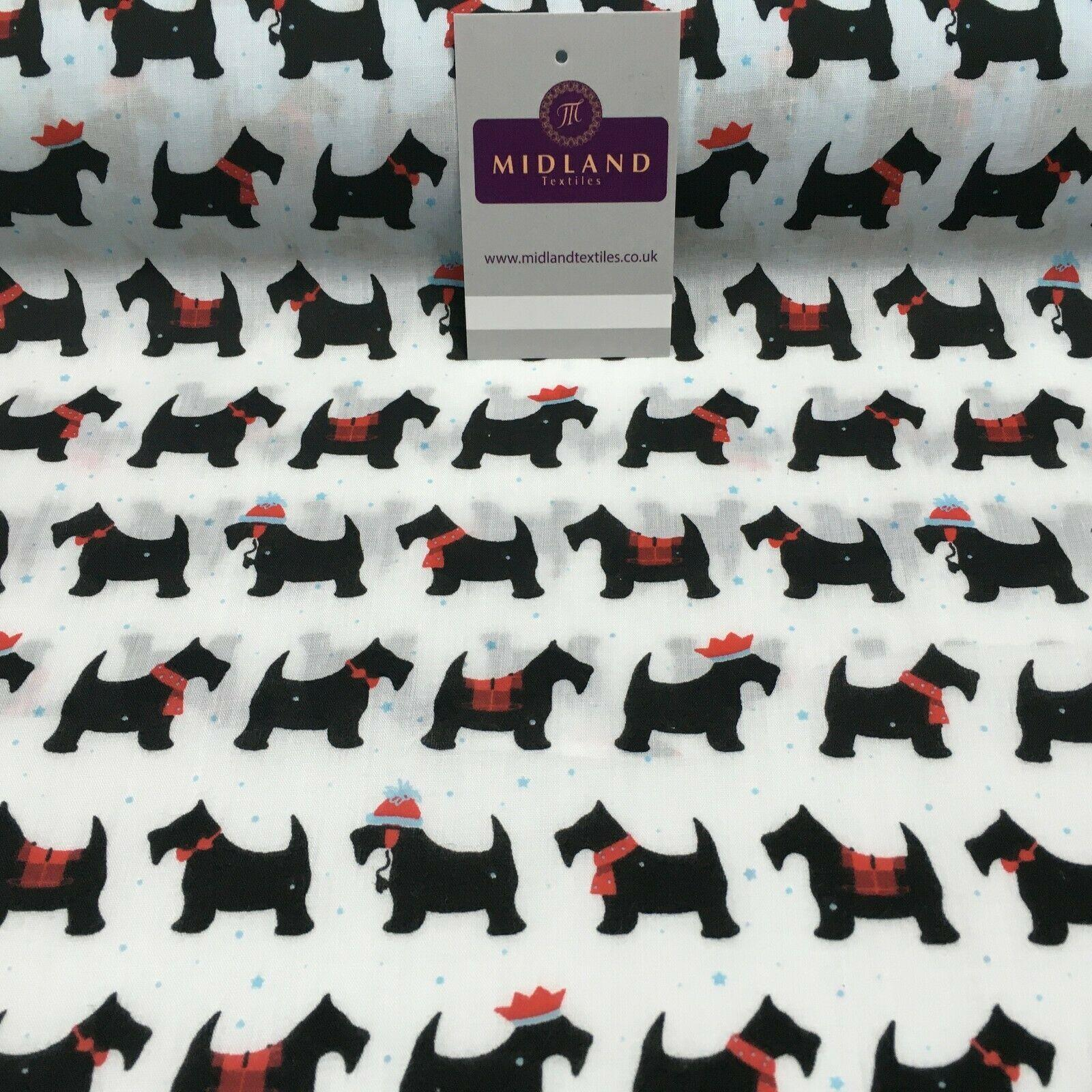 Christmas Scotty Dog Printed Polycotton Fabric 110 cm MD1286 Mtex