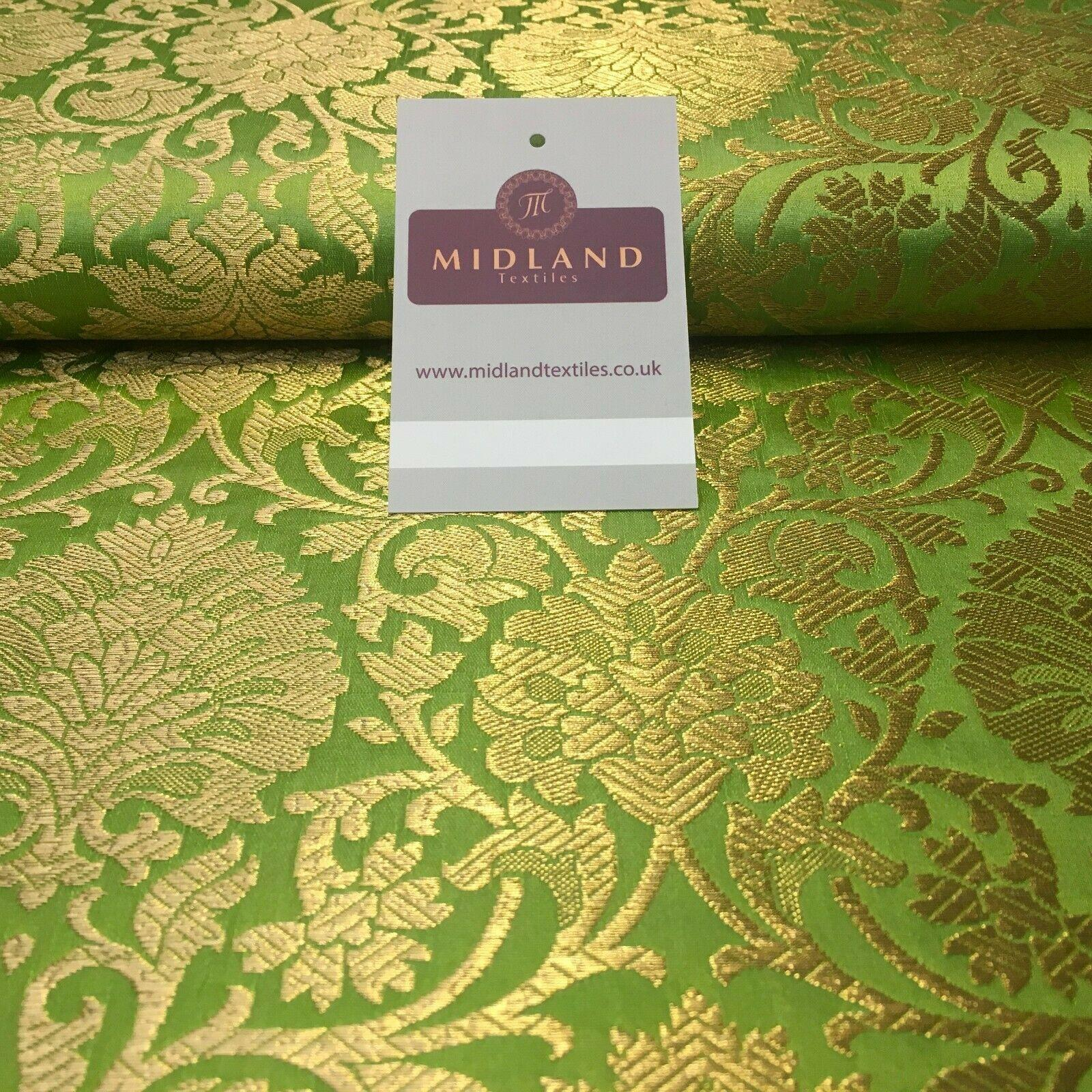 Gold Ornamental floral banarsi Brocade Waistcoat Fabric 110 cm MP1250 Mtex