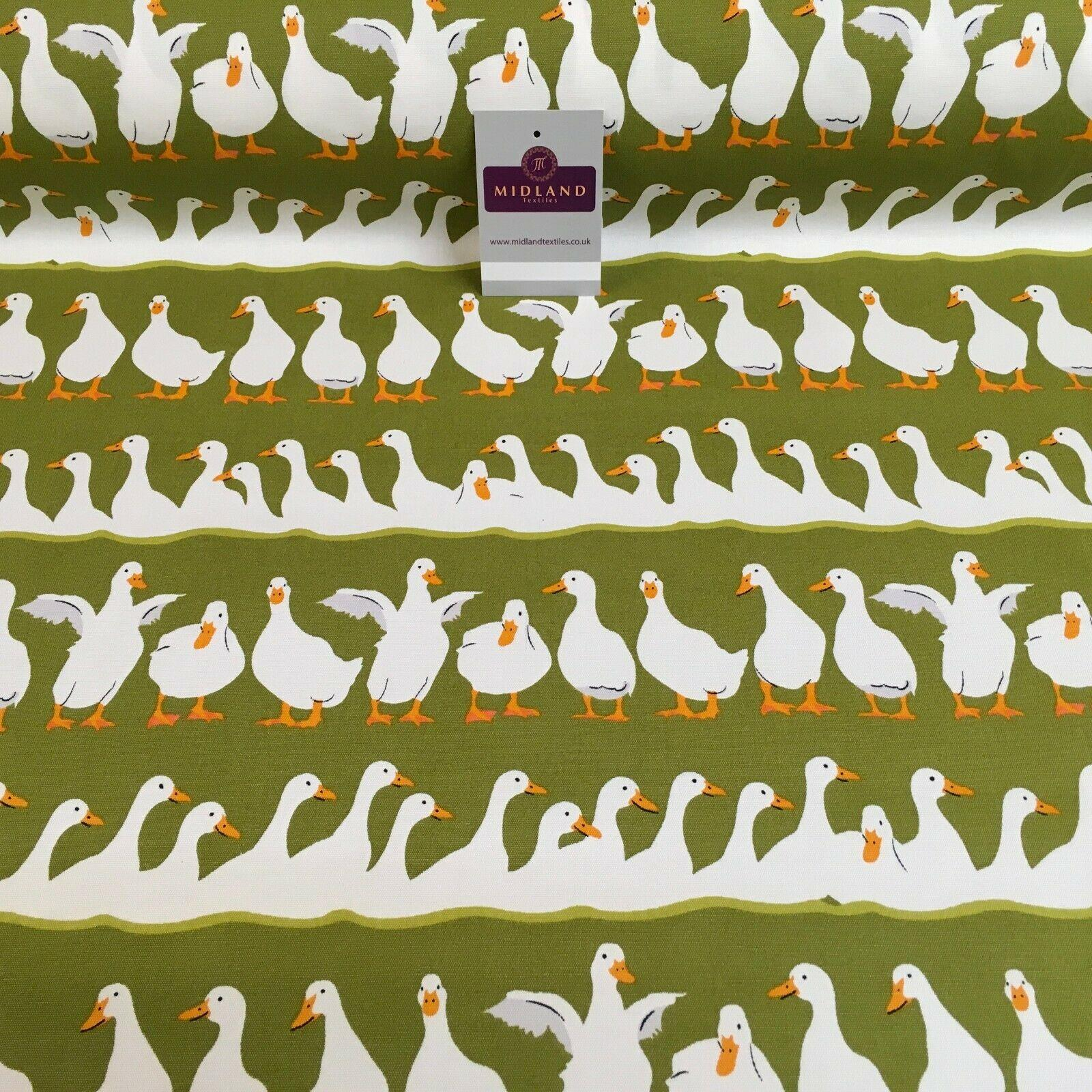 Olive Ducks Printed 100% Cotton Canvas Craft Fabric 150Cm Wide Mtex MK856-20