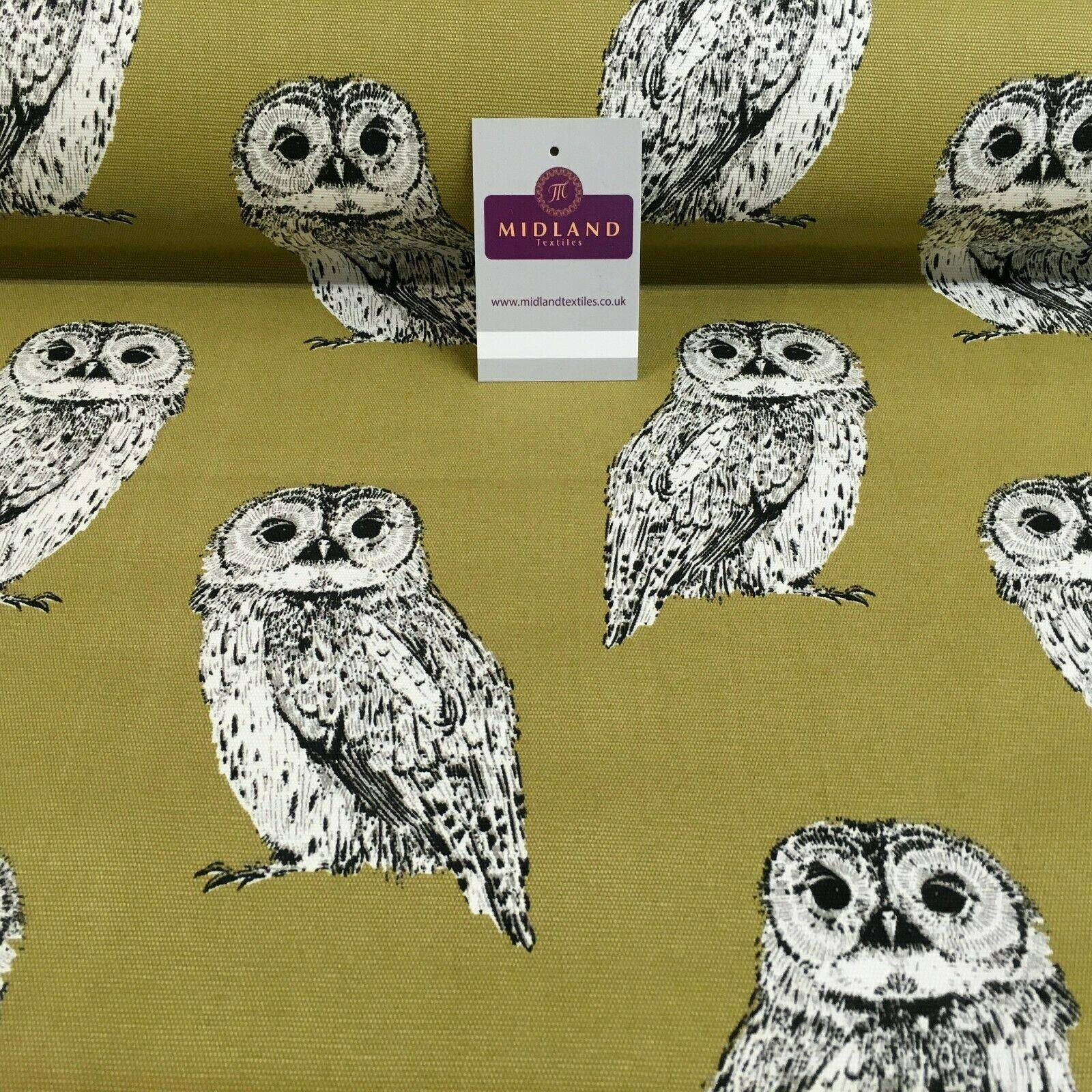 Pale Olive Owls Printed 100% Cotton Canvas Craft Fabric 150 Cm Wide MK856-22
