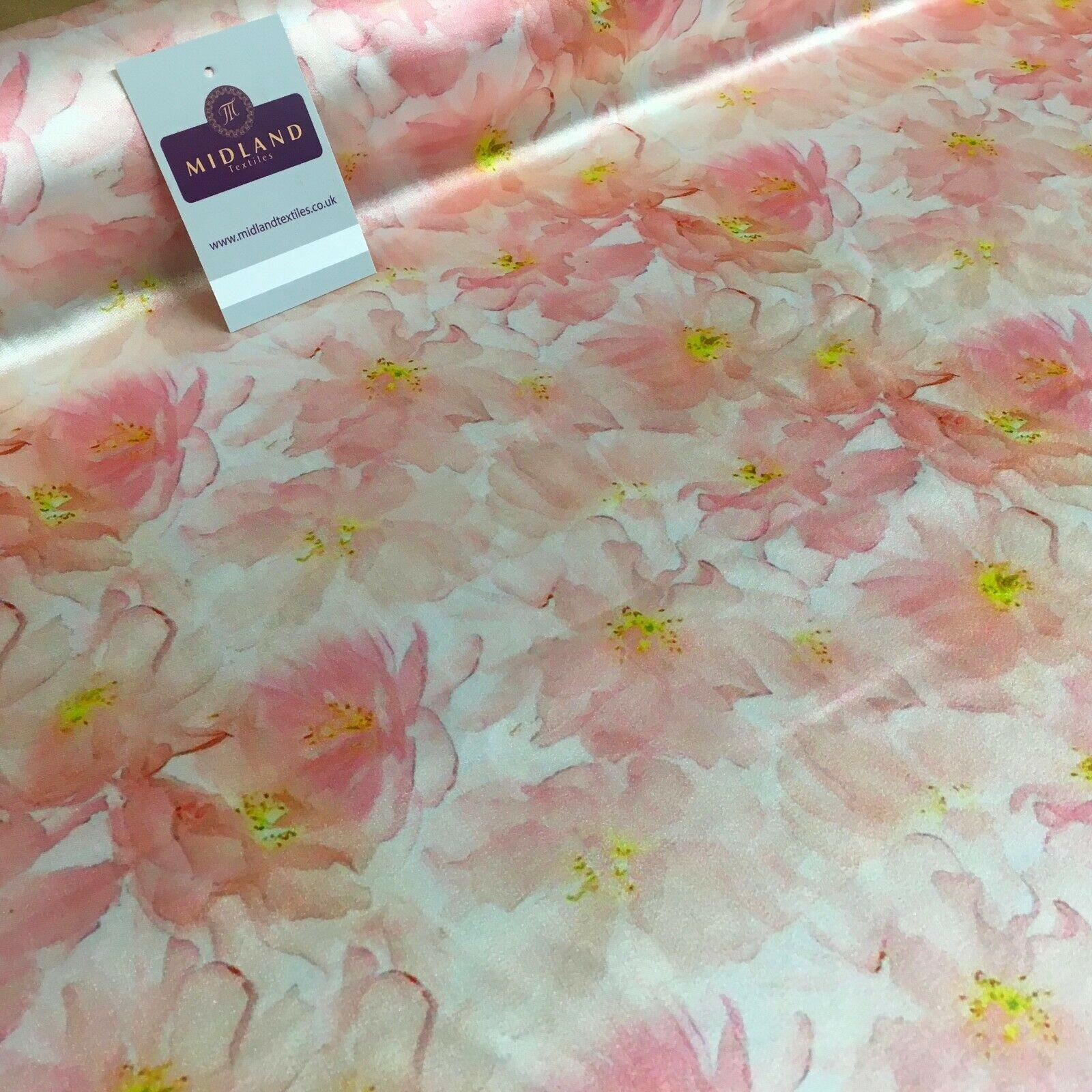 Peach Floral Silky Digital Printed  Dress Fabric 150 cm MK1327-3