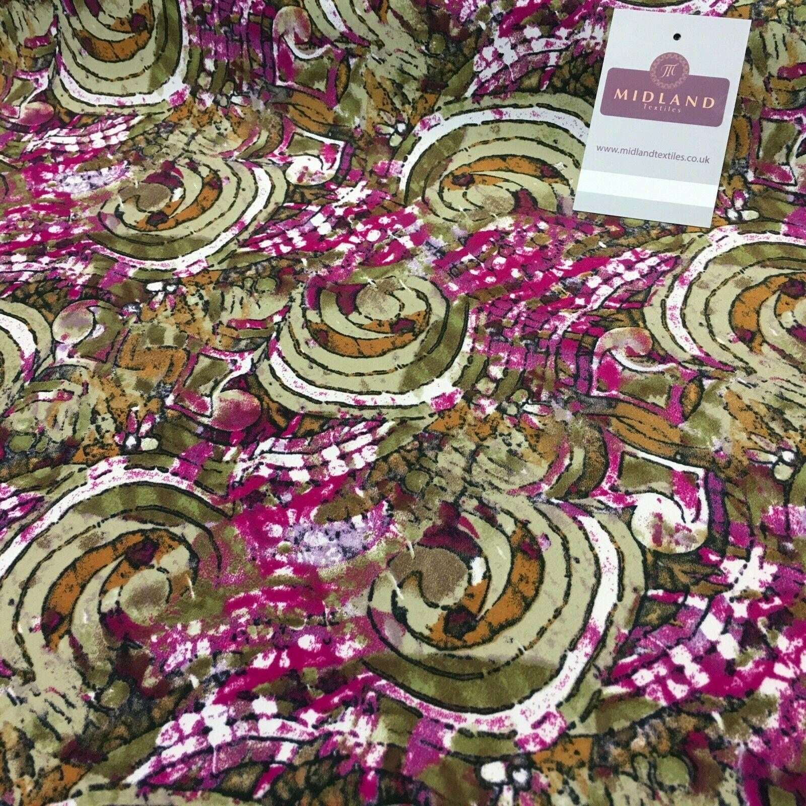 Olive Magenta Printed Mosaic Crepe De chine dress Fabric 150cm M145-83