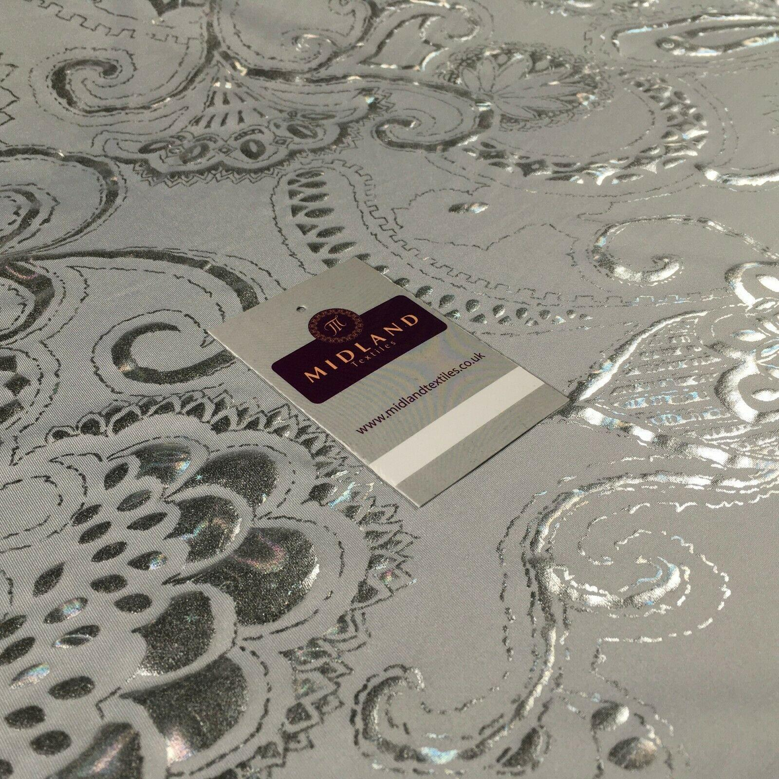Silver foil Floral on White Spandex Jersey Stretch Dress Fabric 150cm MU1301