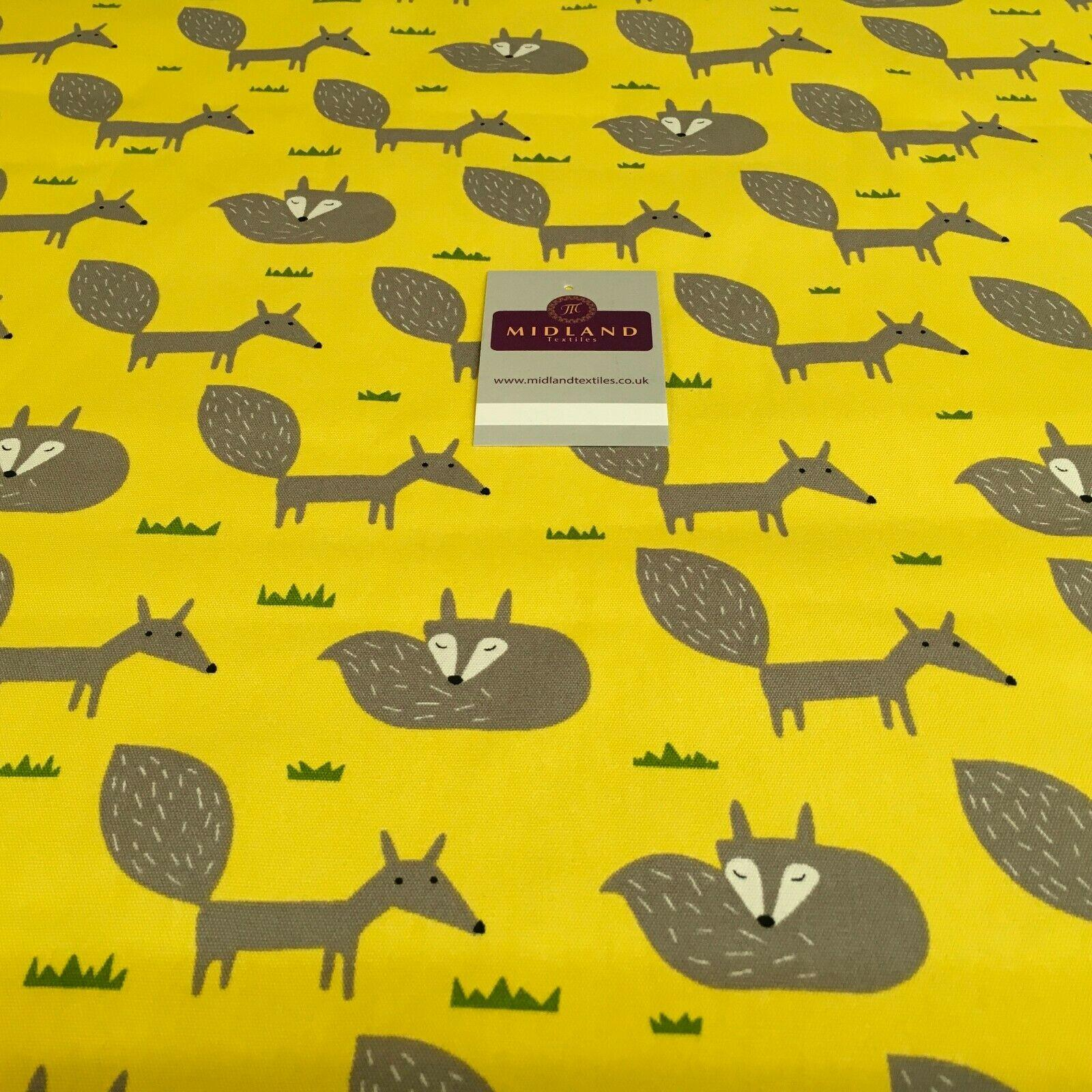 Yellow Foxes Printed 100% Cotton Canvas Craft Fabric 150 Cm Wide Mtex MK856-19