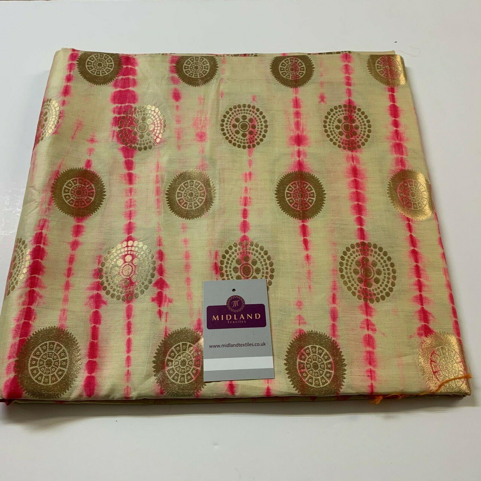 Half Metre Gold Floral Two Tone Pure Silk Banarsi indian Brocade Fabric MP1330
