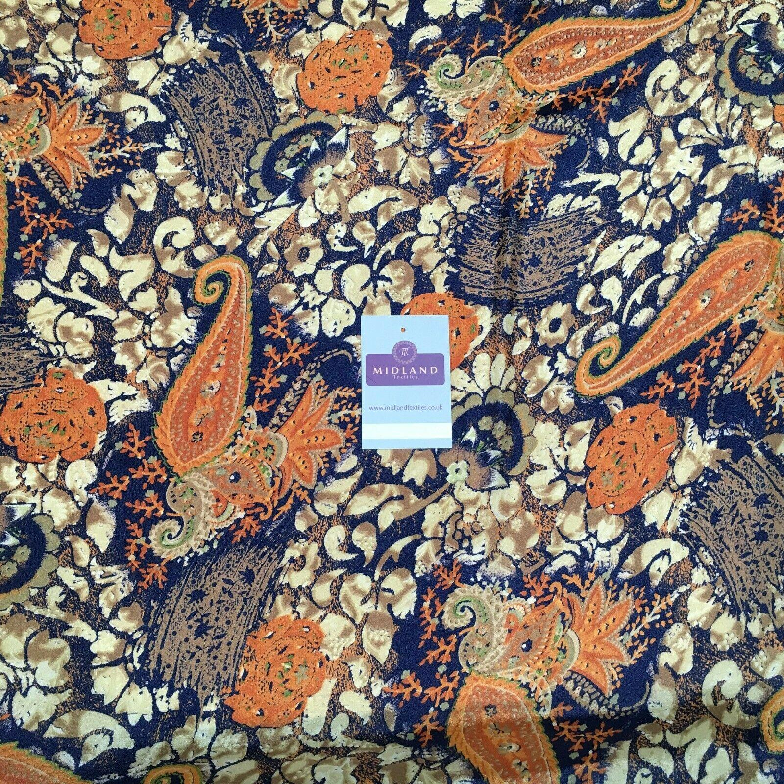 Navy Blue Paisley Satin Printed gold Shimmer Fabric 110cm MR1337