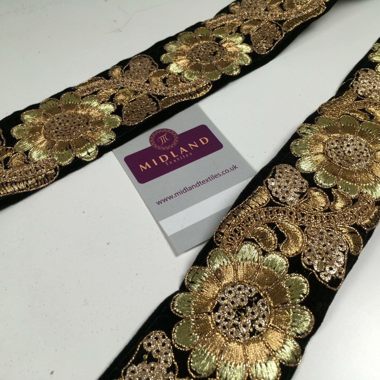 60mm Velvet floral embroidered border saree edging M1345