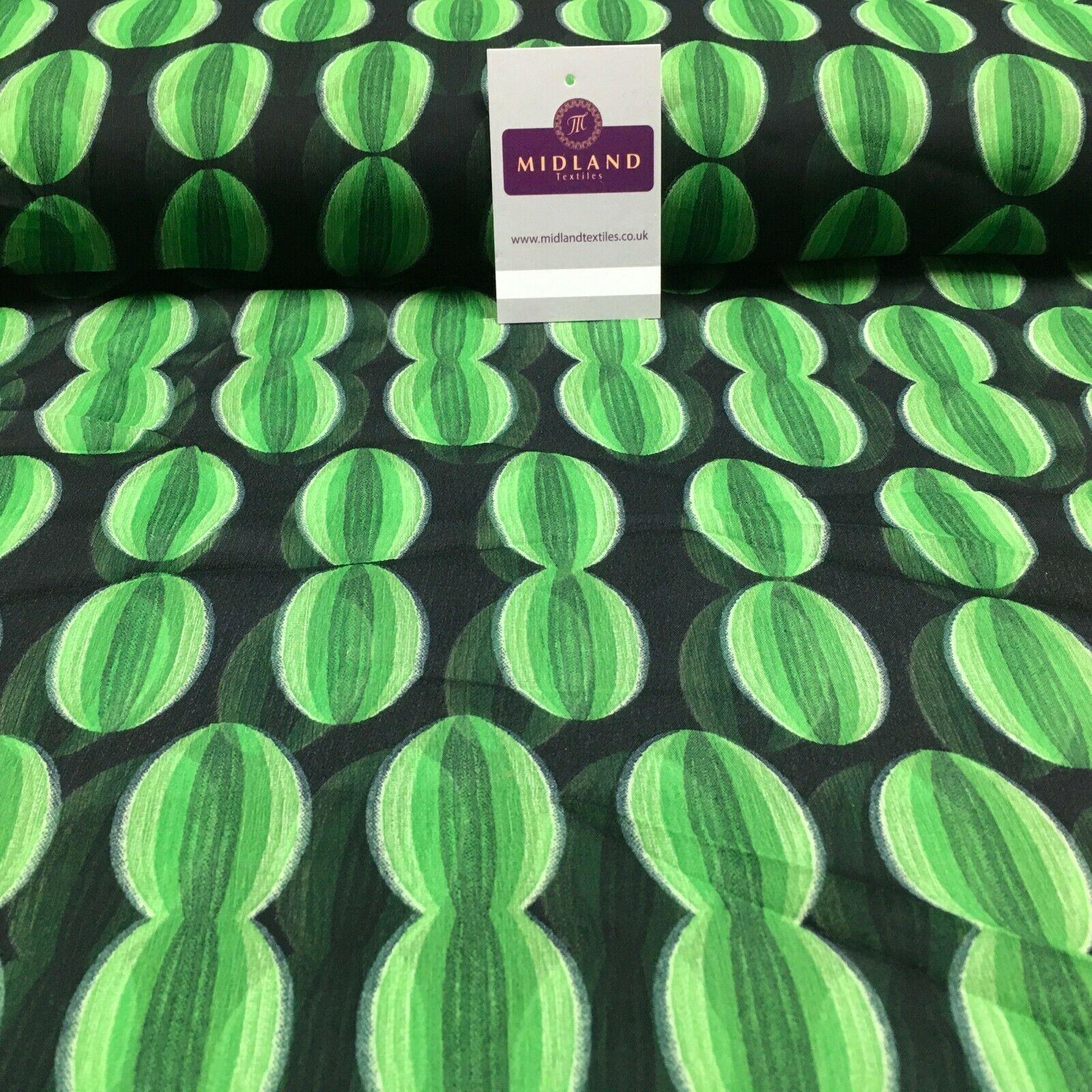 Black Green Crepe Printed Chiffon Fabric 110 cm Wide M1358-4 Mtex