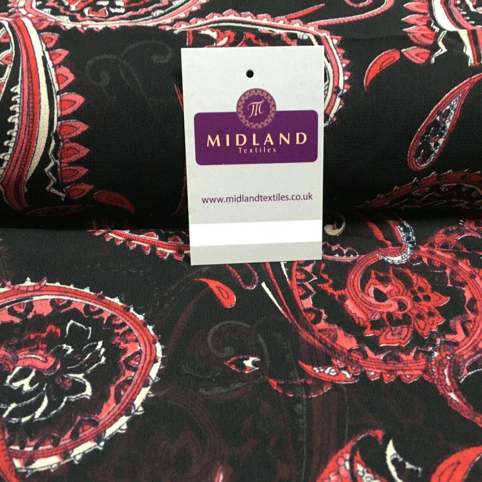 Black Red Paisley Crepe Printed Chiffon Fabric 110 cm Wide M1358-1 Mtex