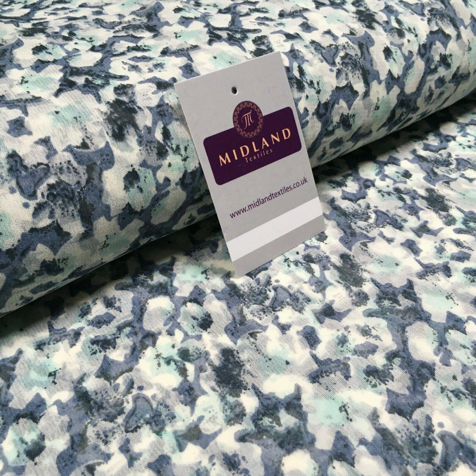 Mint Grey Floral Crepe Printed Chiffon Fabric 110 cm Wide M1358-2 Mtex